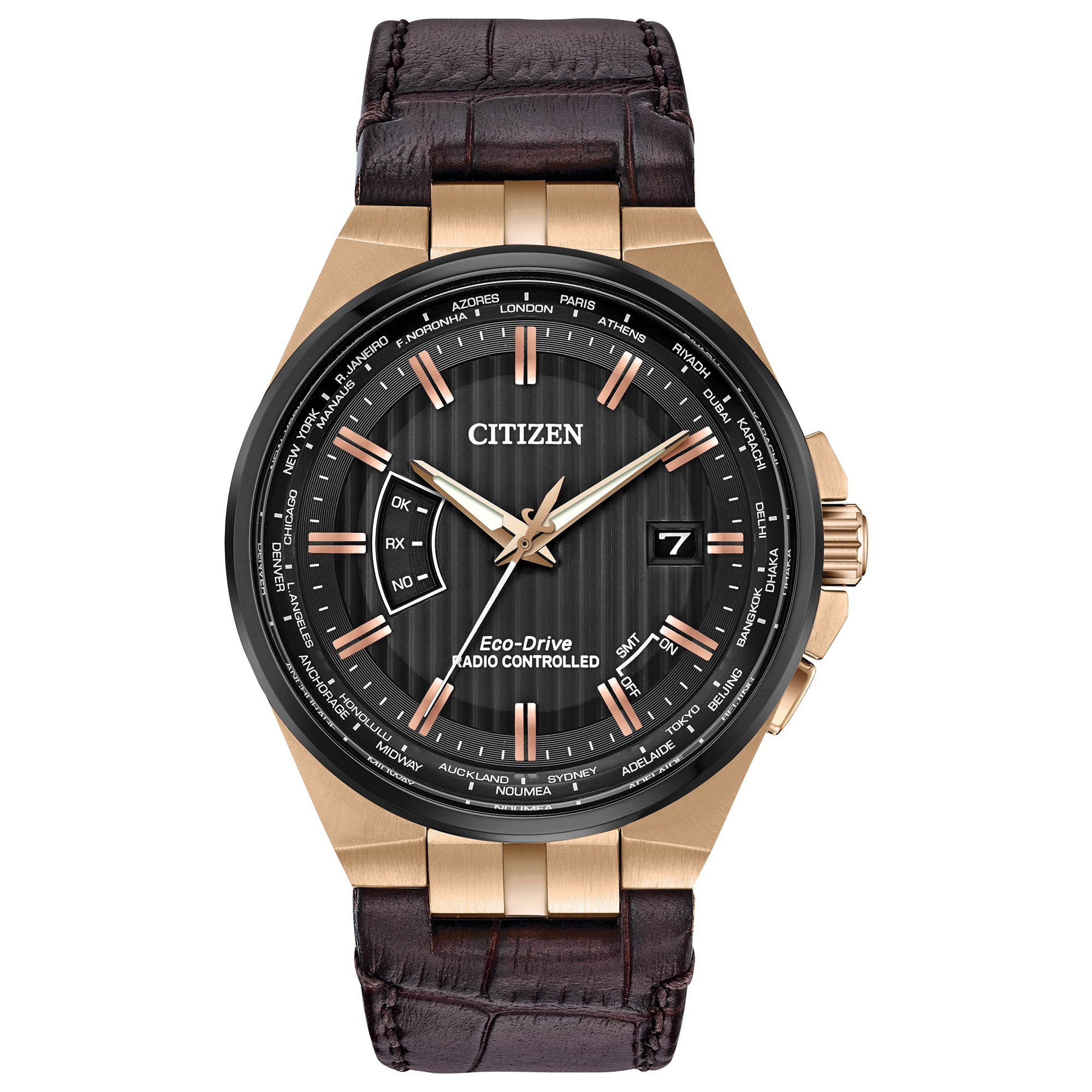 Citizen Eco-Drive World Perpetual A-T Brown Leather Watch CB0168-08E