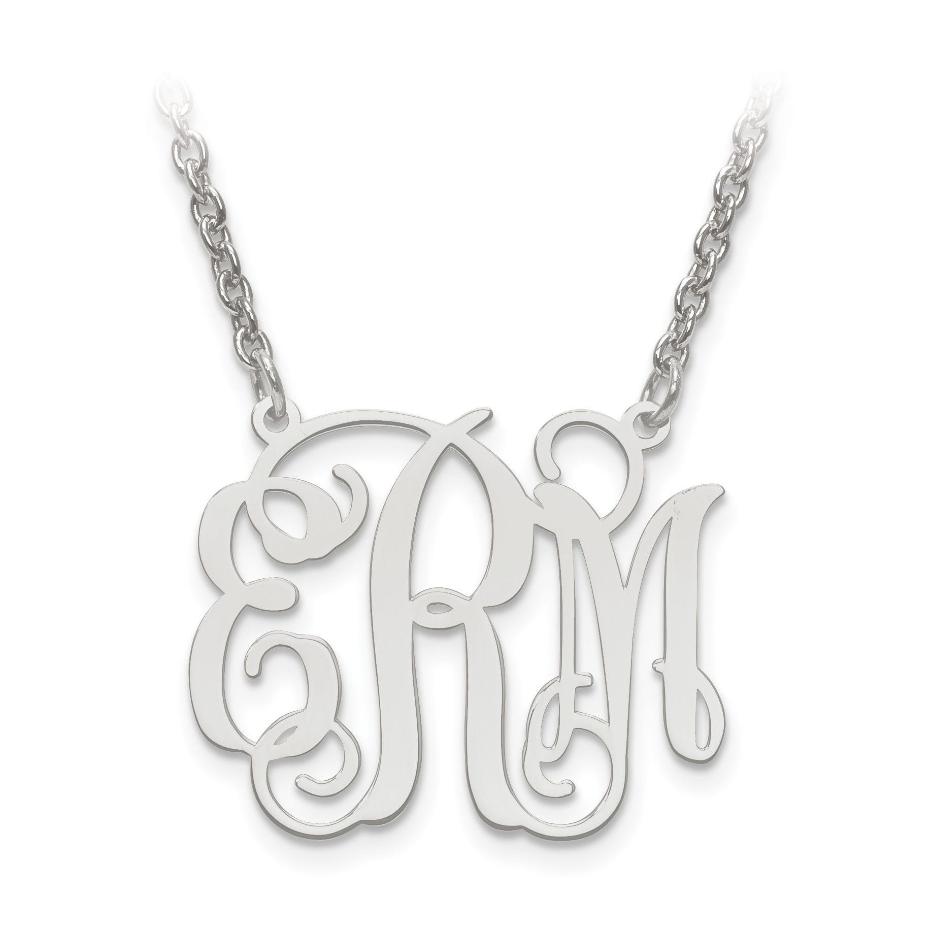 Laser Polished 21x25 Monogram Plate Pendant in Sterling Silver (up to 3 letters)