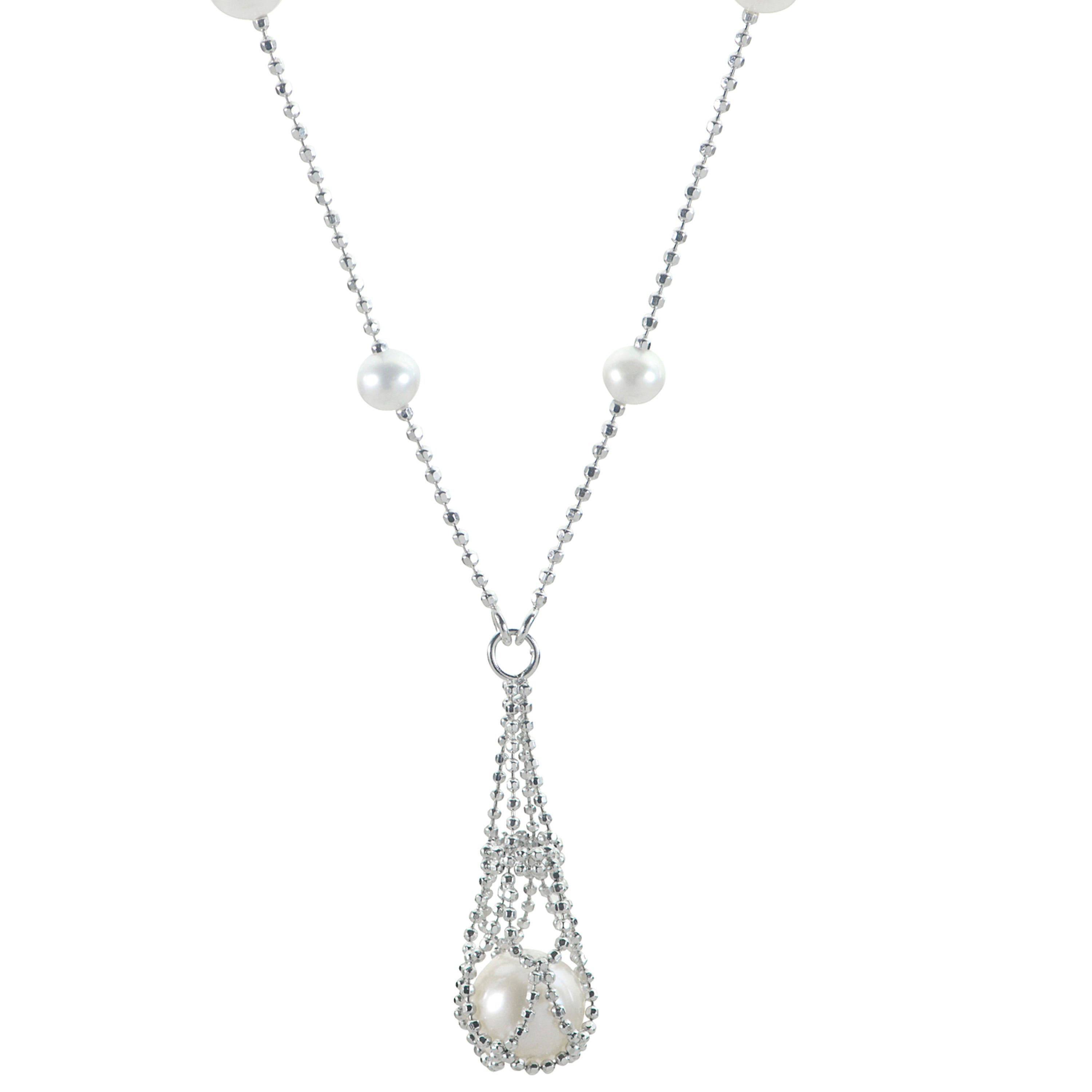 Imperial Pearl Lace Caged Pearl Necklace in Sterling Silver