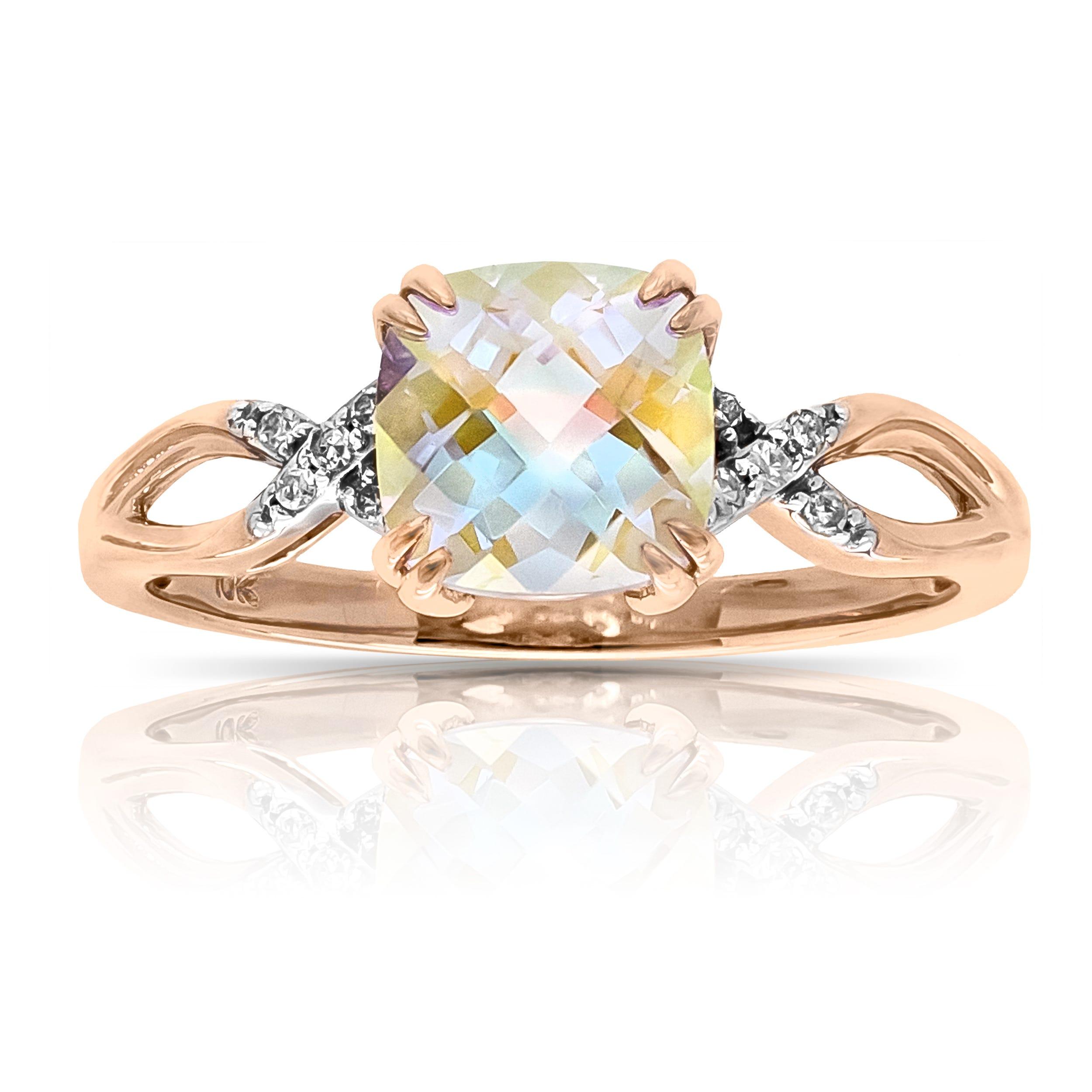 Blue Magic Gemstone & Diamond Ring in 10k Rose Gold