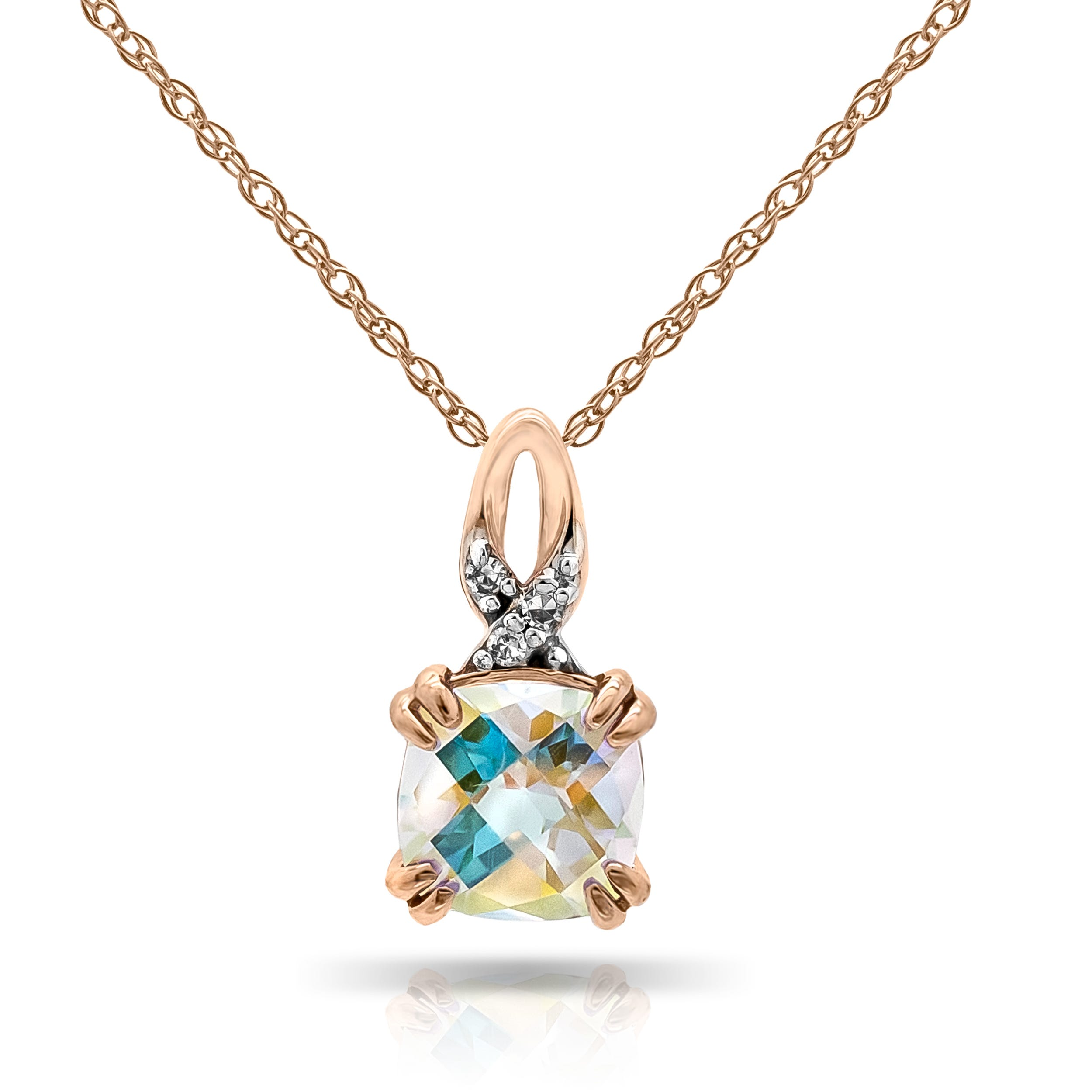 Blue Magic Gemstone & Diamond Pendant in 10k Rose Gold