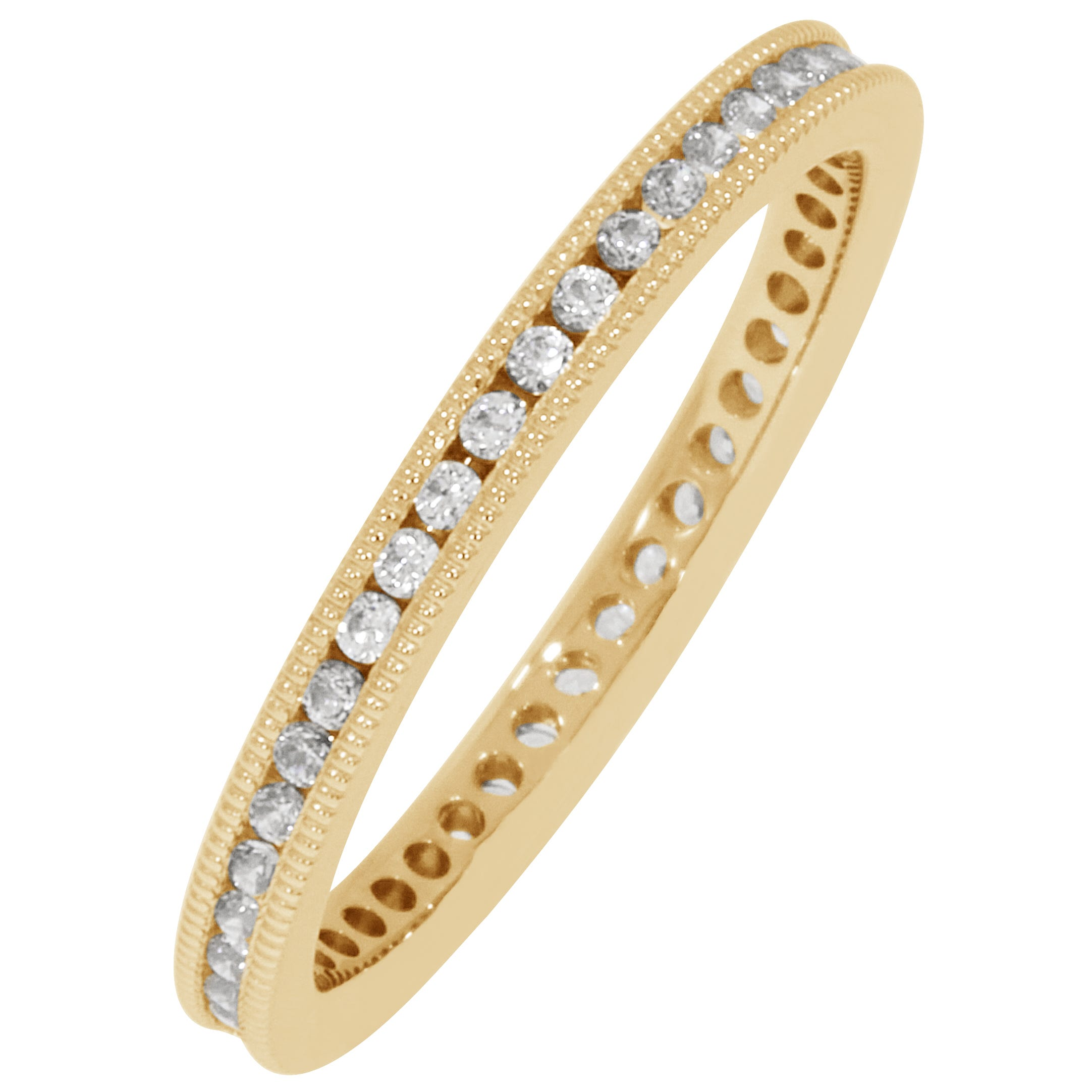 Round Milgrain Edge 1/3ctw. Eternity Band in 14K Yellow Gold (GH, SI2)