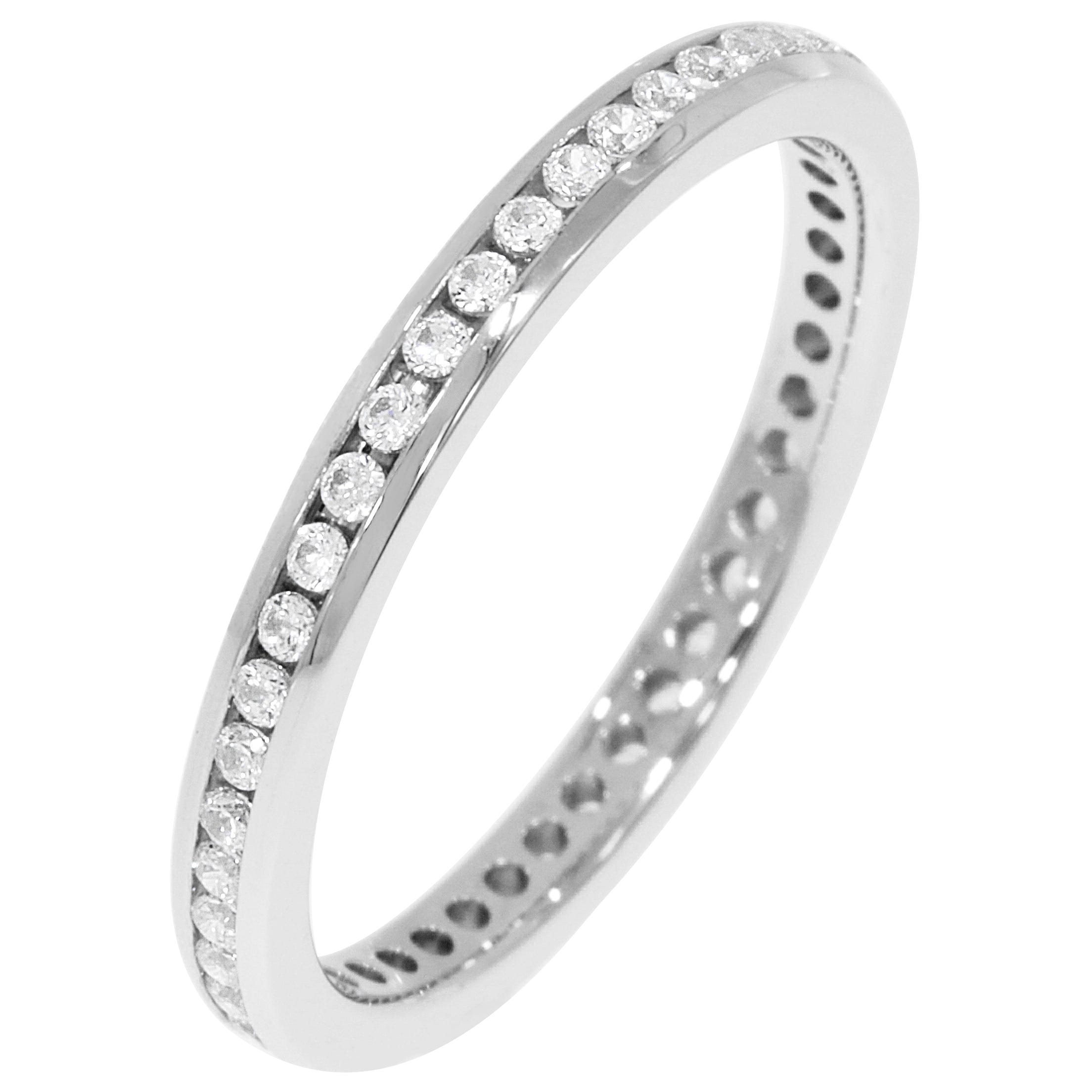 Round Channel Set 1/3ctw. Eternity Band in 18K White Gold (HI, I1)