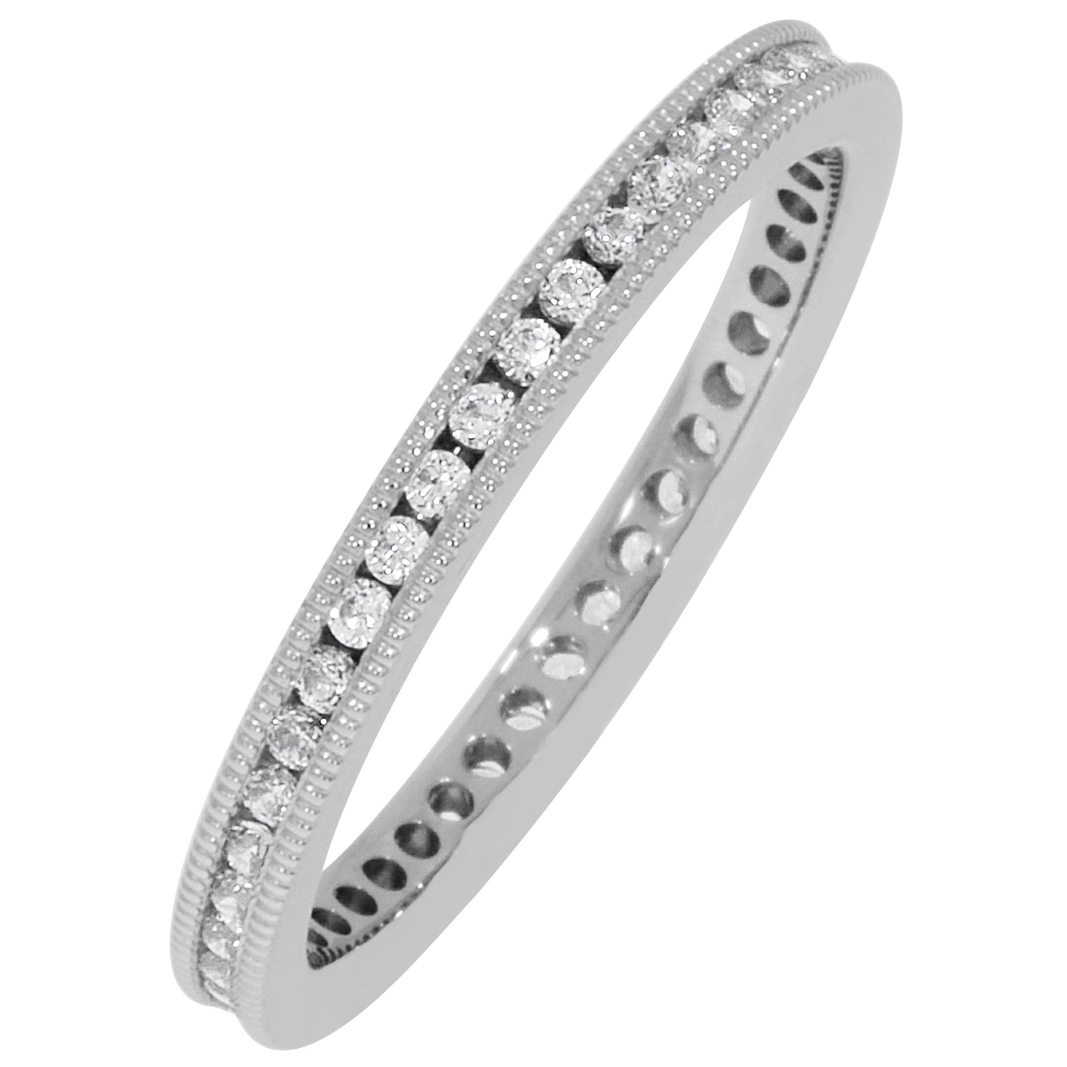 Round Milgrain Edge 1/3ctw. Eternity Band in Platinum (GH, SI2)