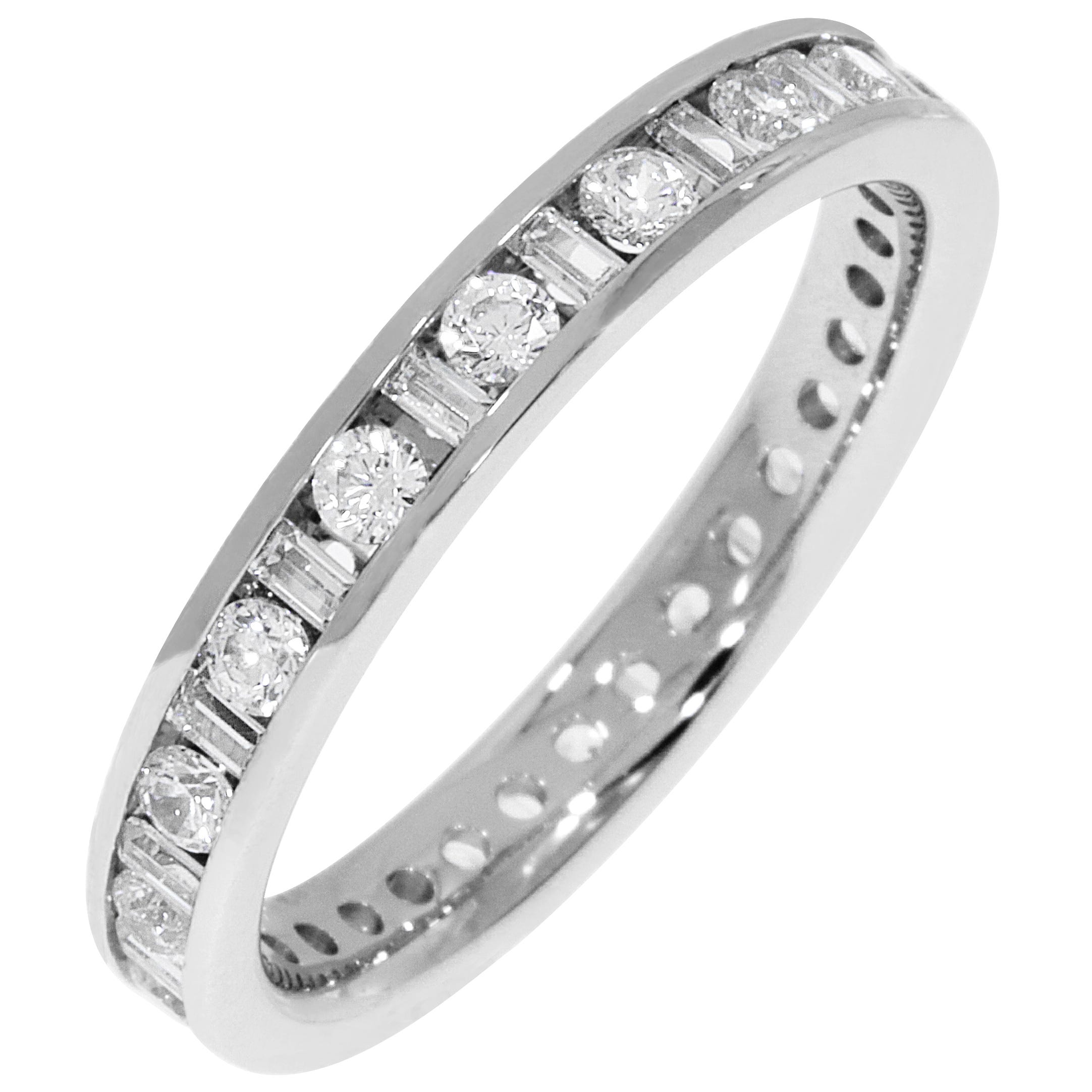 bb85be53770e8 Round & Baguette Channel Set 1ctw. Eternity Band in 14K White Gold (GH, SI)