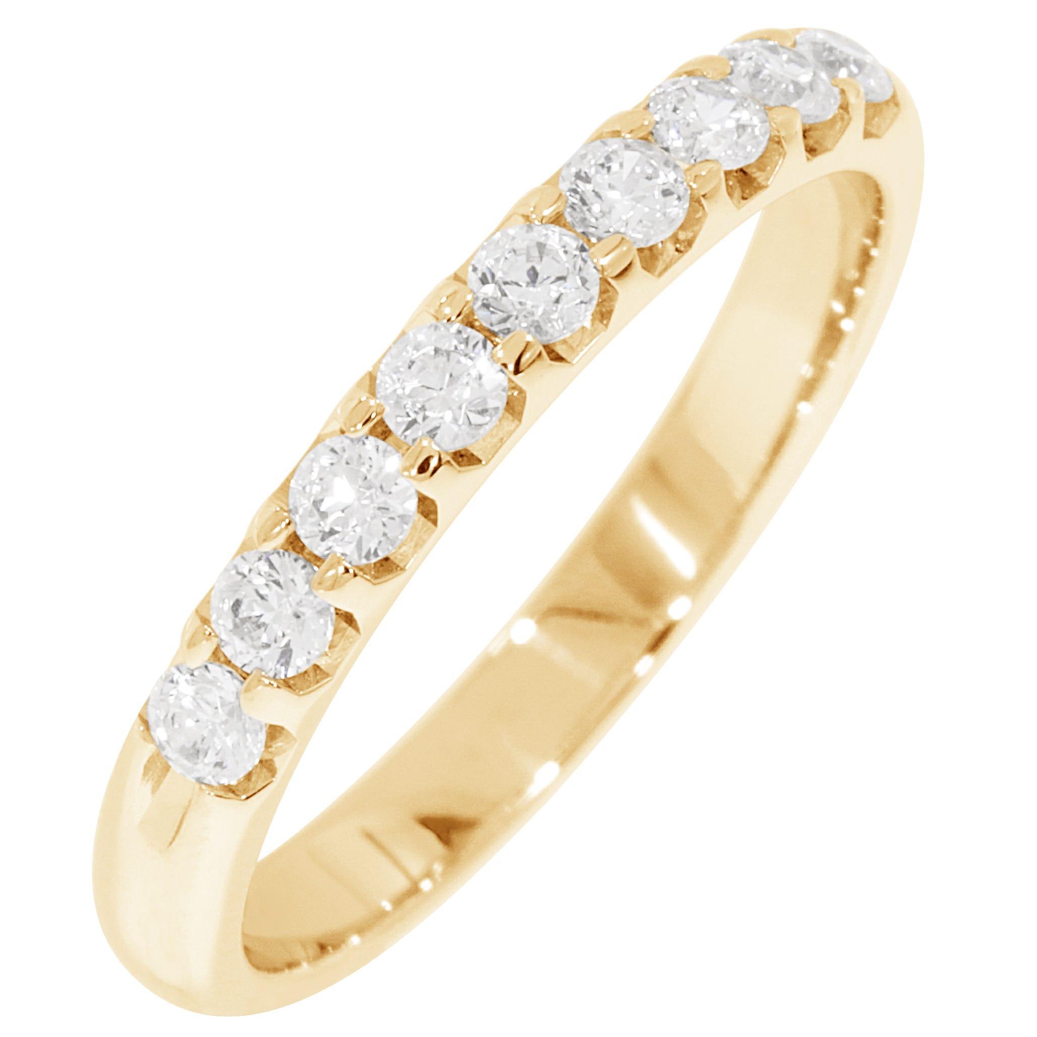 Ladies' 9-Stone 1/3ctw. Prong-Set Diamond Wedding Band in 14K Yellow Gold (HI, I1-I2)