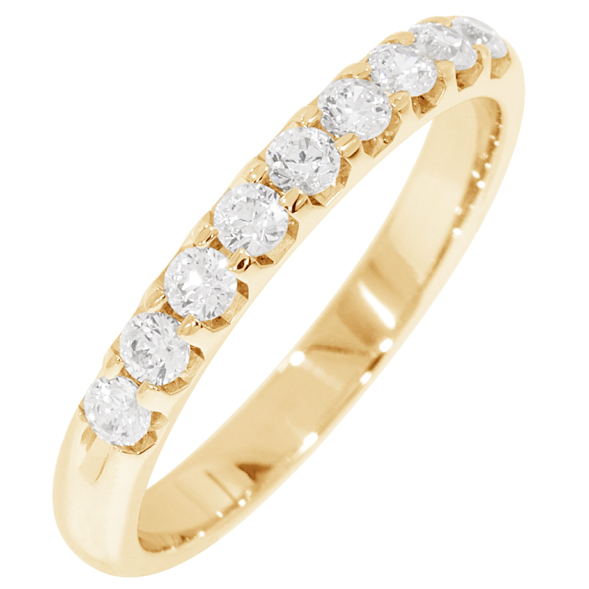 Ladies' 9-Stone 1/3ctw. Prong-Set Diamond Wedding Band in 18K Yellow Gold (HI, I1-I2)