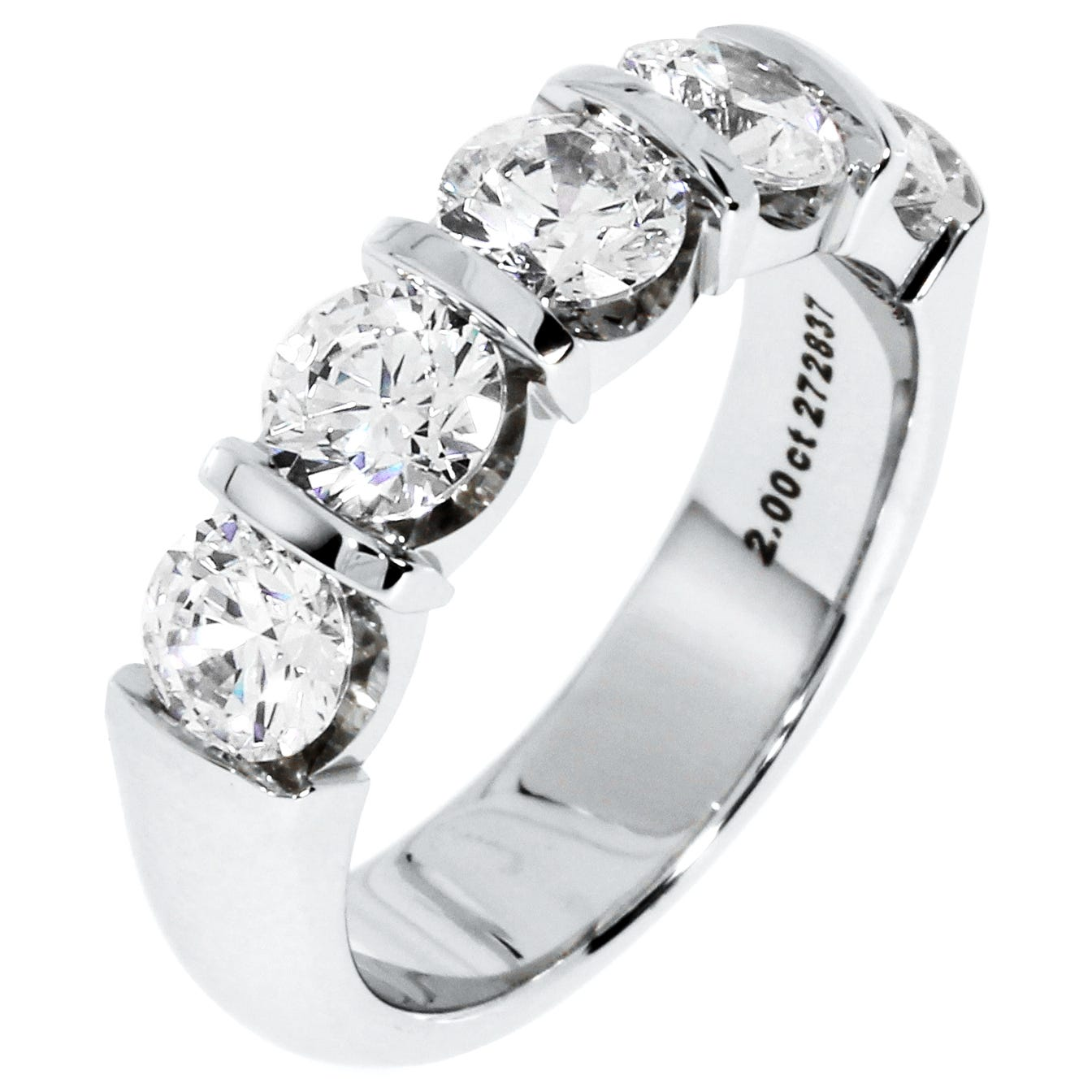 Diamond 5-Stone 2 ctw. Wedding Band in 18K White Gold (HI, I1)