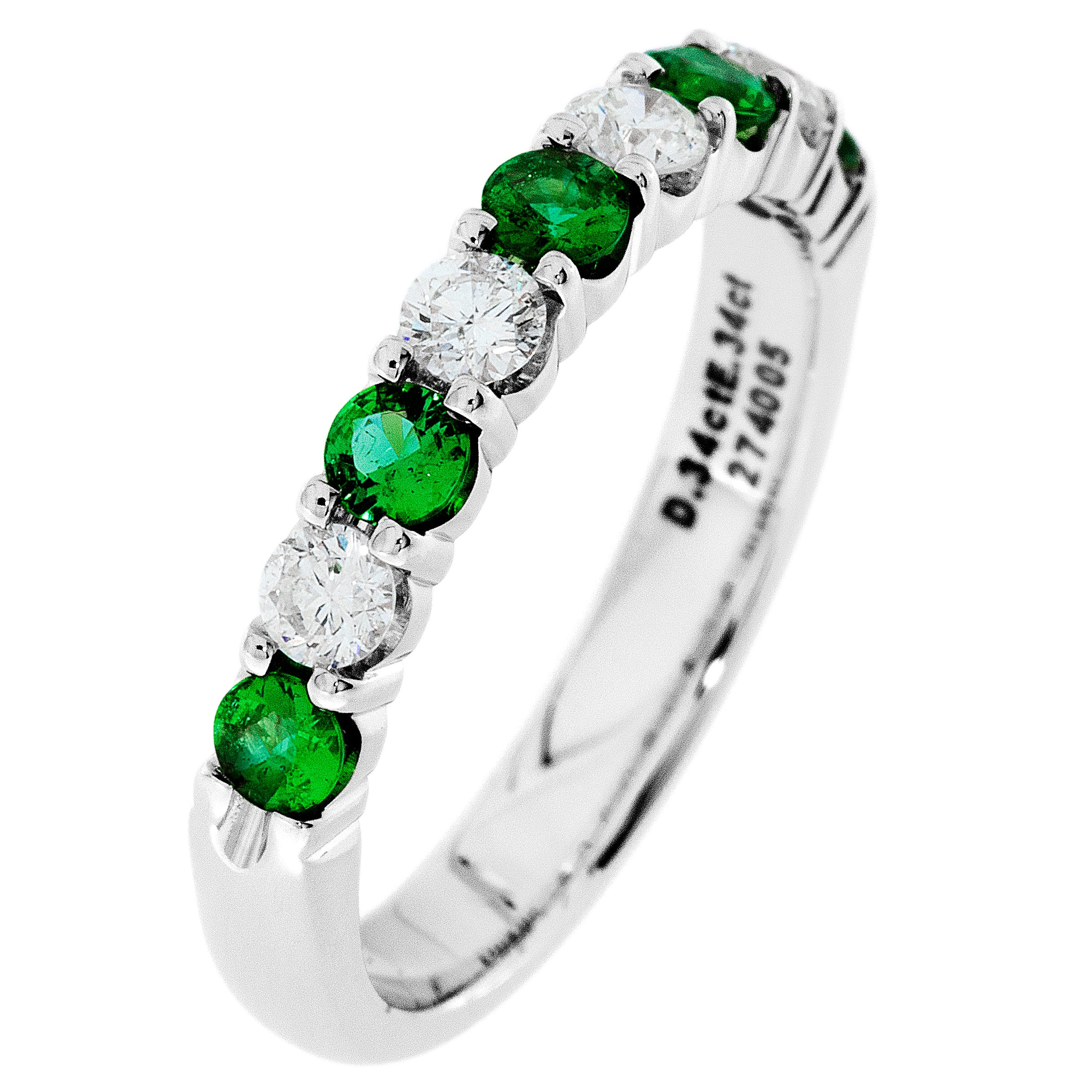 Diamond & Emerald Prong Set 0.55ctw. Band in 14k White Gold