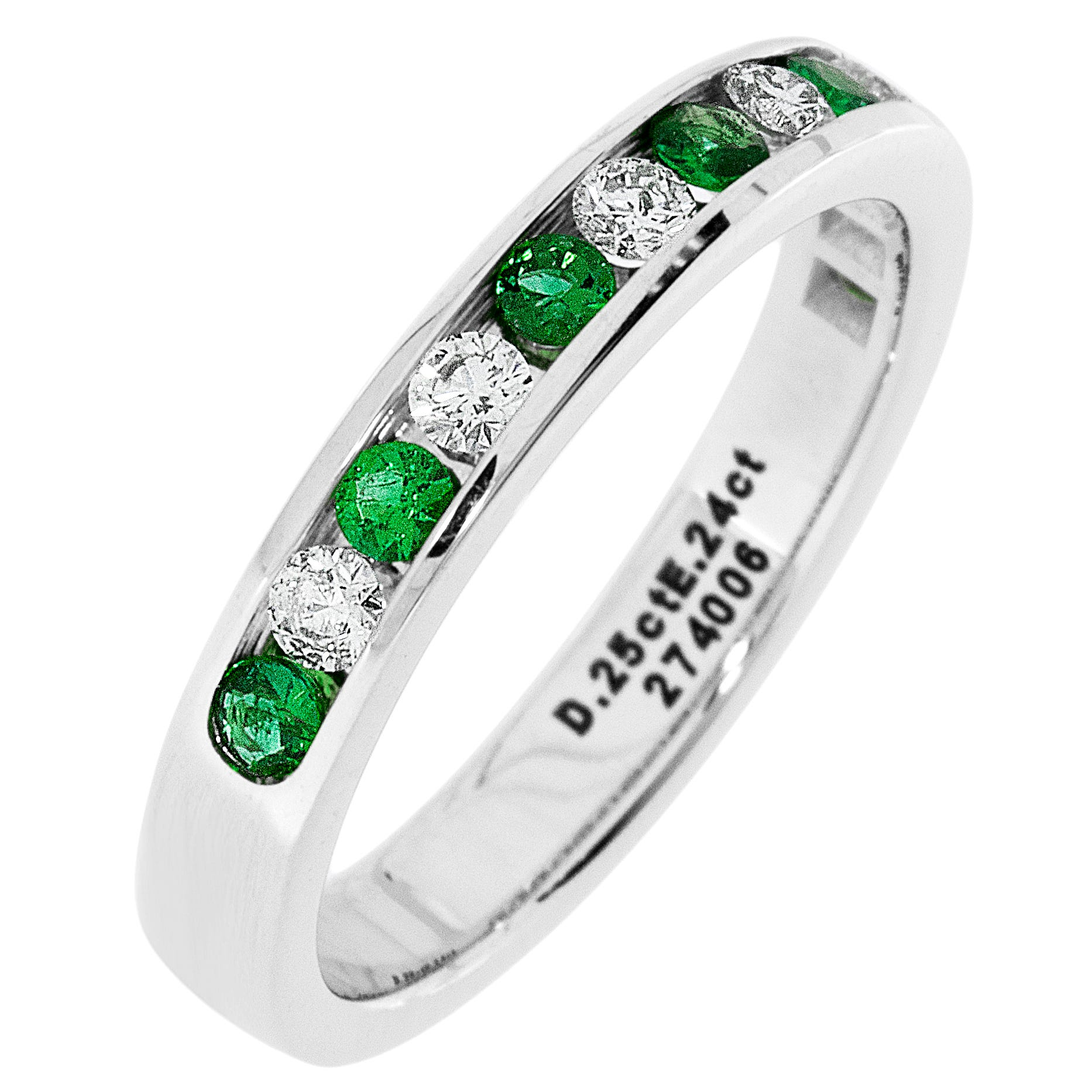 Diamond & Emerald Channel Set 1/4ctw. Band in 14k White Gold