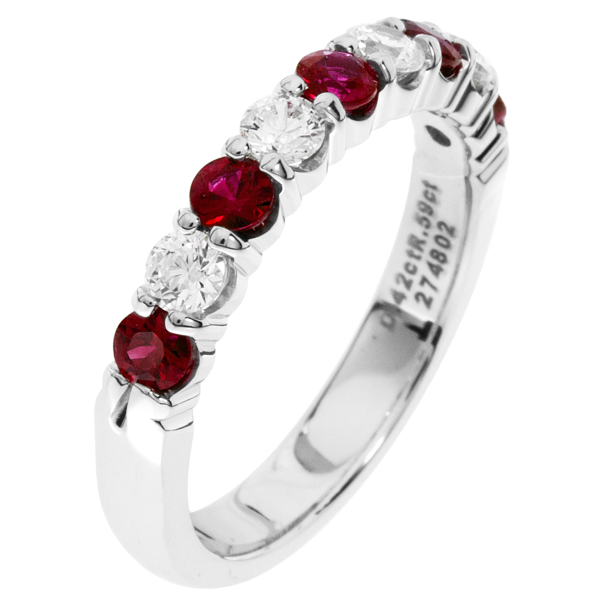 Diamond & Ruby Prong Set 0.55ctw. Band in 14k White Gold