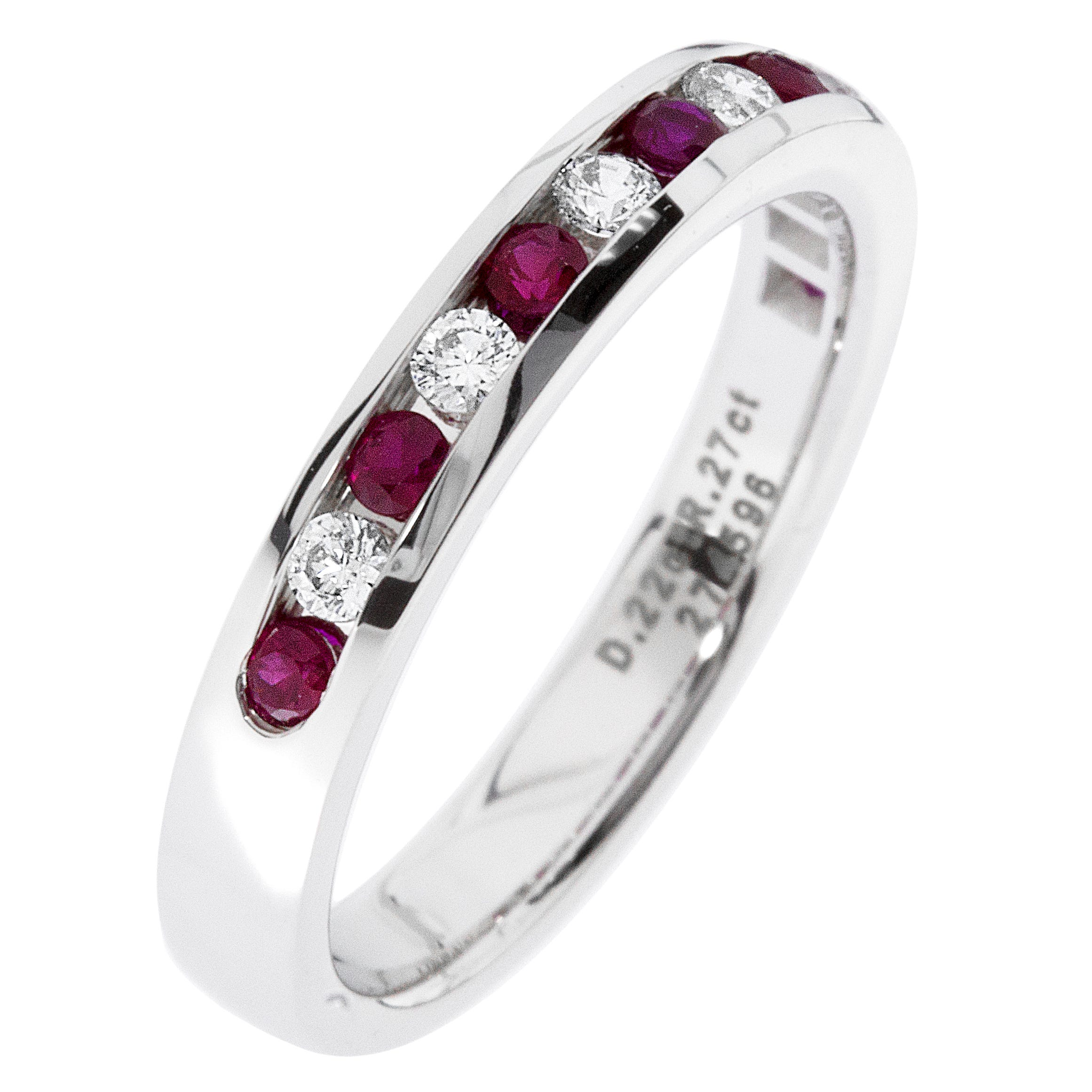 Diamond & Ruby Channel Set 1/4ctw. Band in 14k White Gold