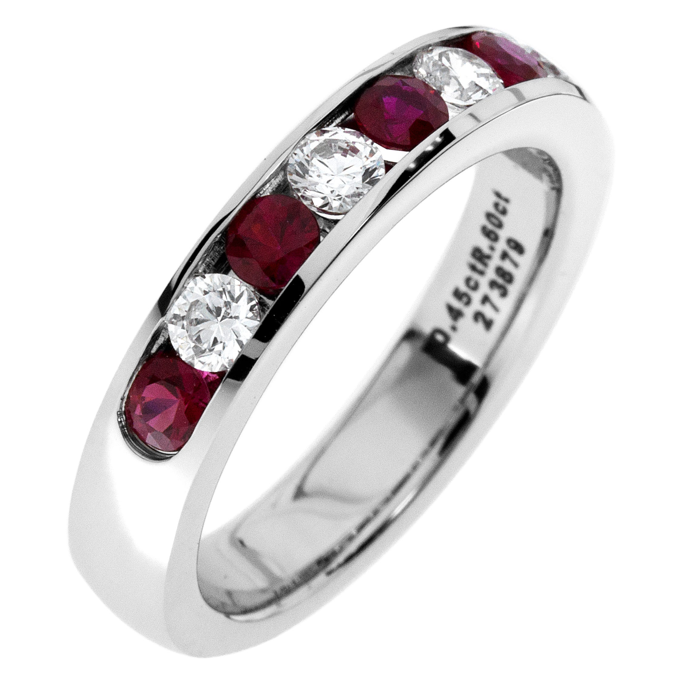 Diamond & Ruby Channel Set 0.55ctw. Band in 14k White Gold