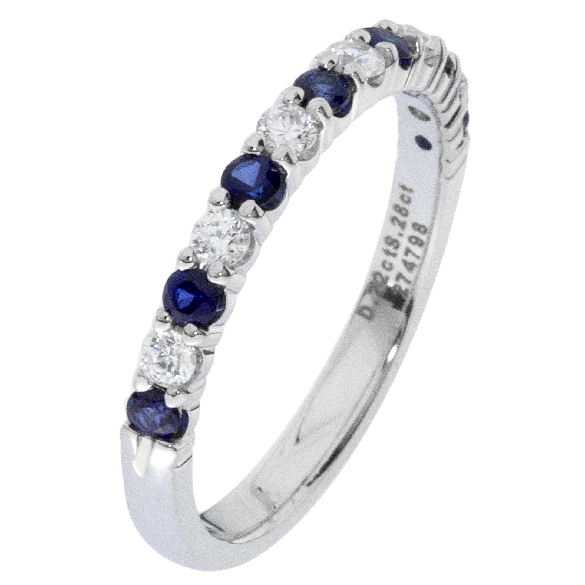 Diamond & Sapphire Prong Set 1/4ctw. Band in 14k White Gold