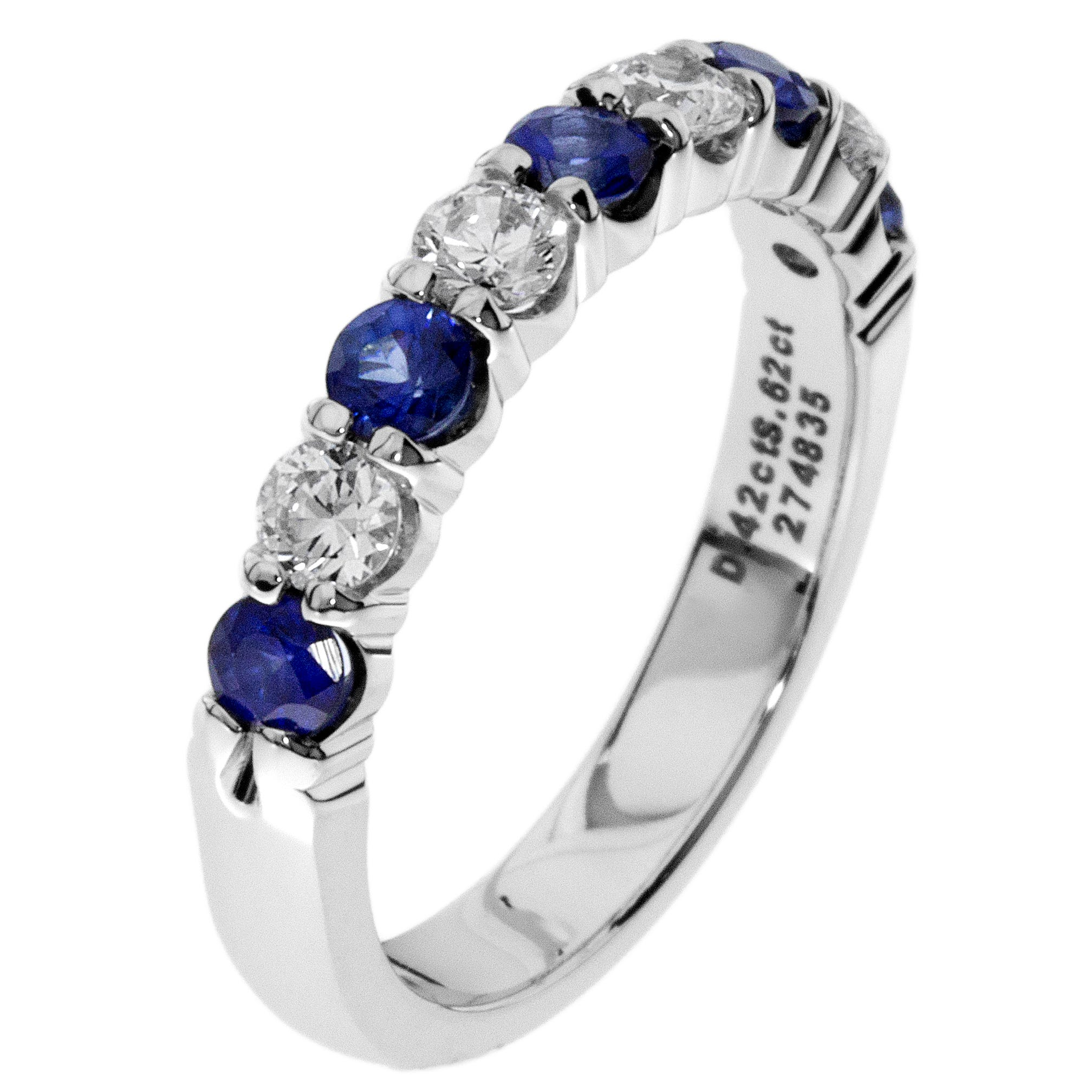 Diamond & Sapphire Prong Set 0.55ctw. Band in 14k White Gold