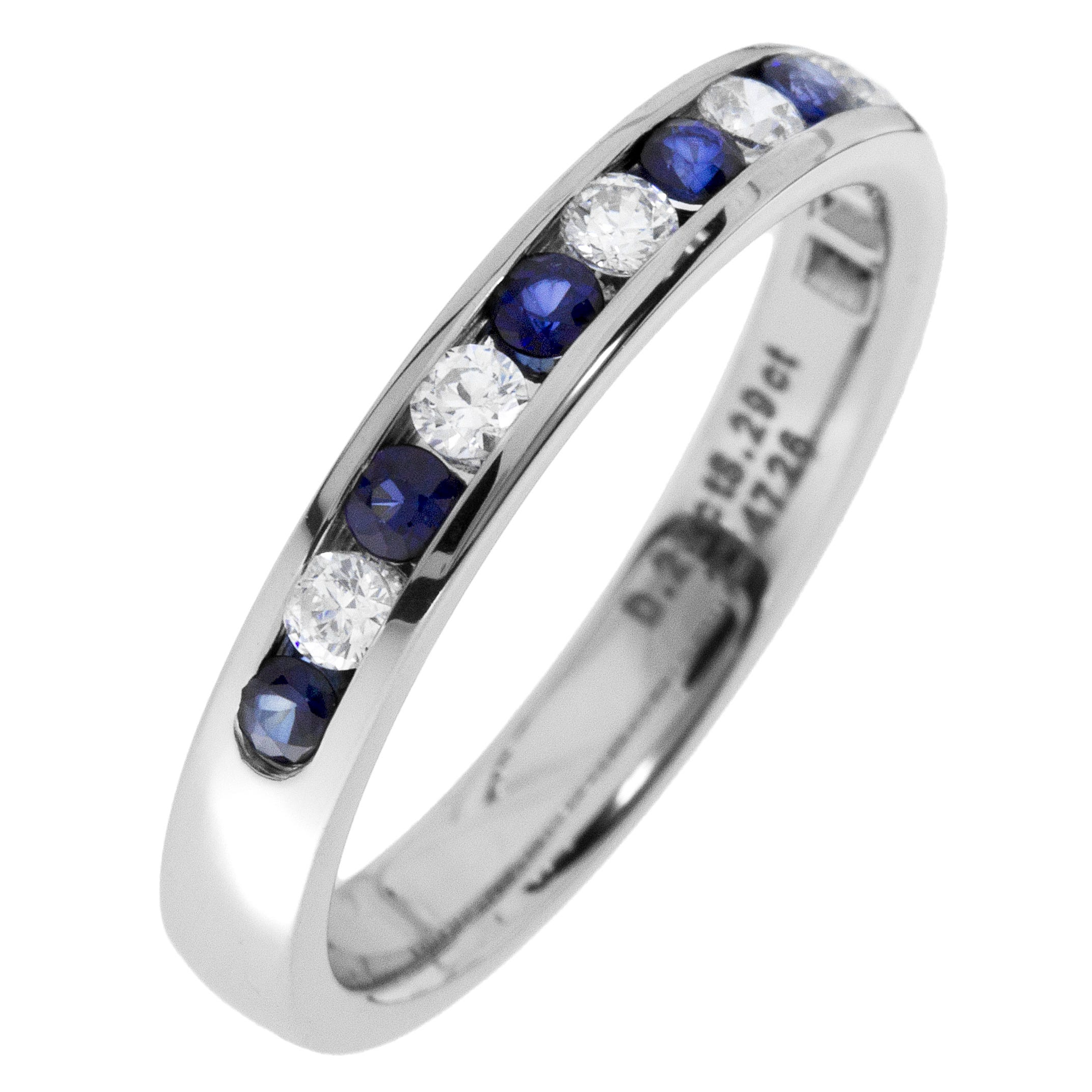 Diamond & Sapphire Channel Set 0.30ctw. Band in 14k White Gold