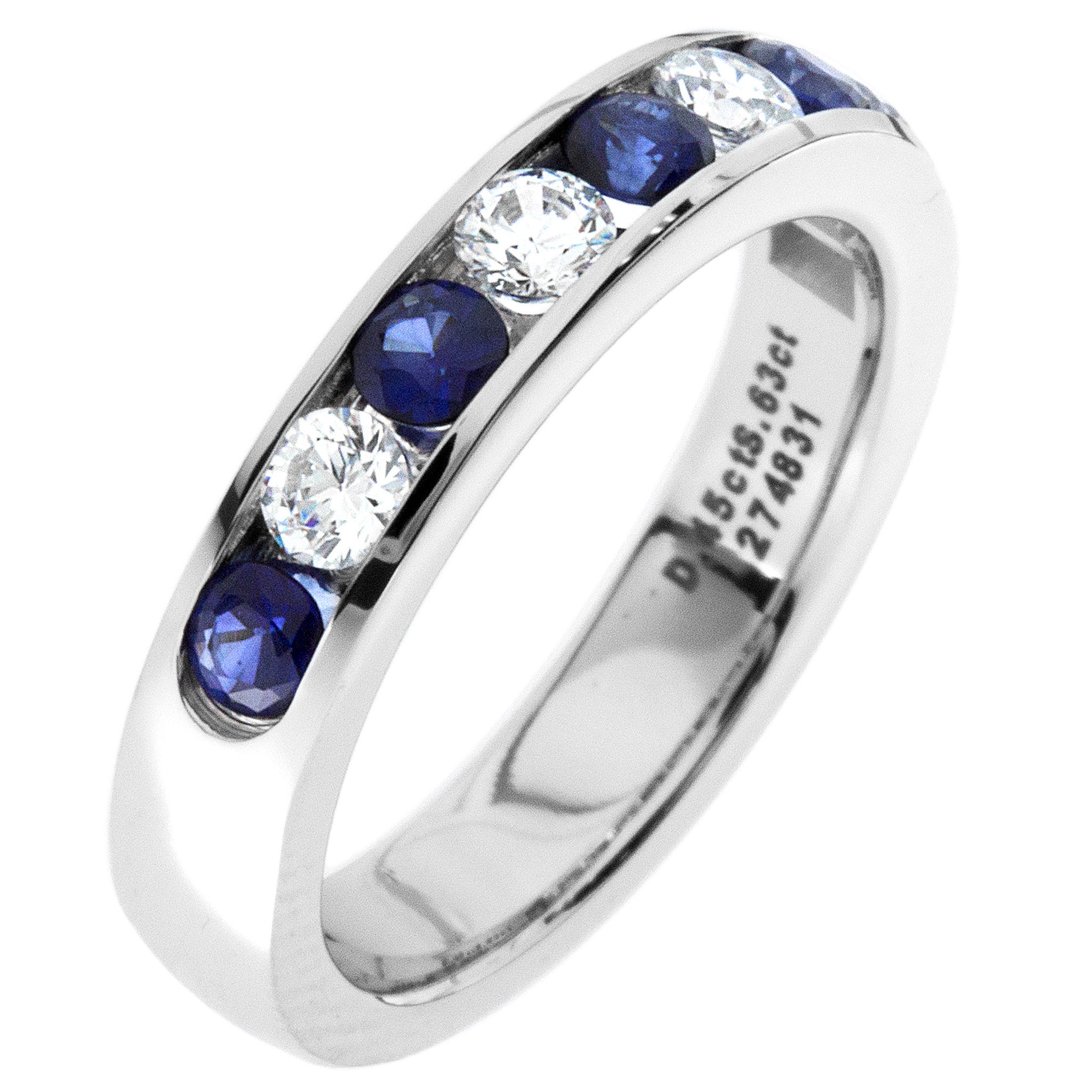 Diamond & Sapphire Channel Set 0.60ctw. Band in 14k White Gold