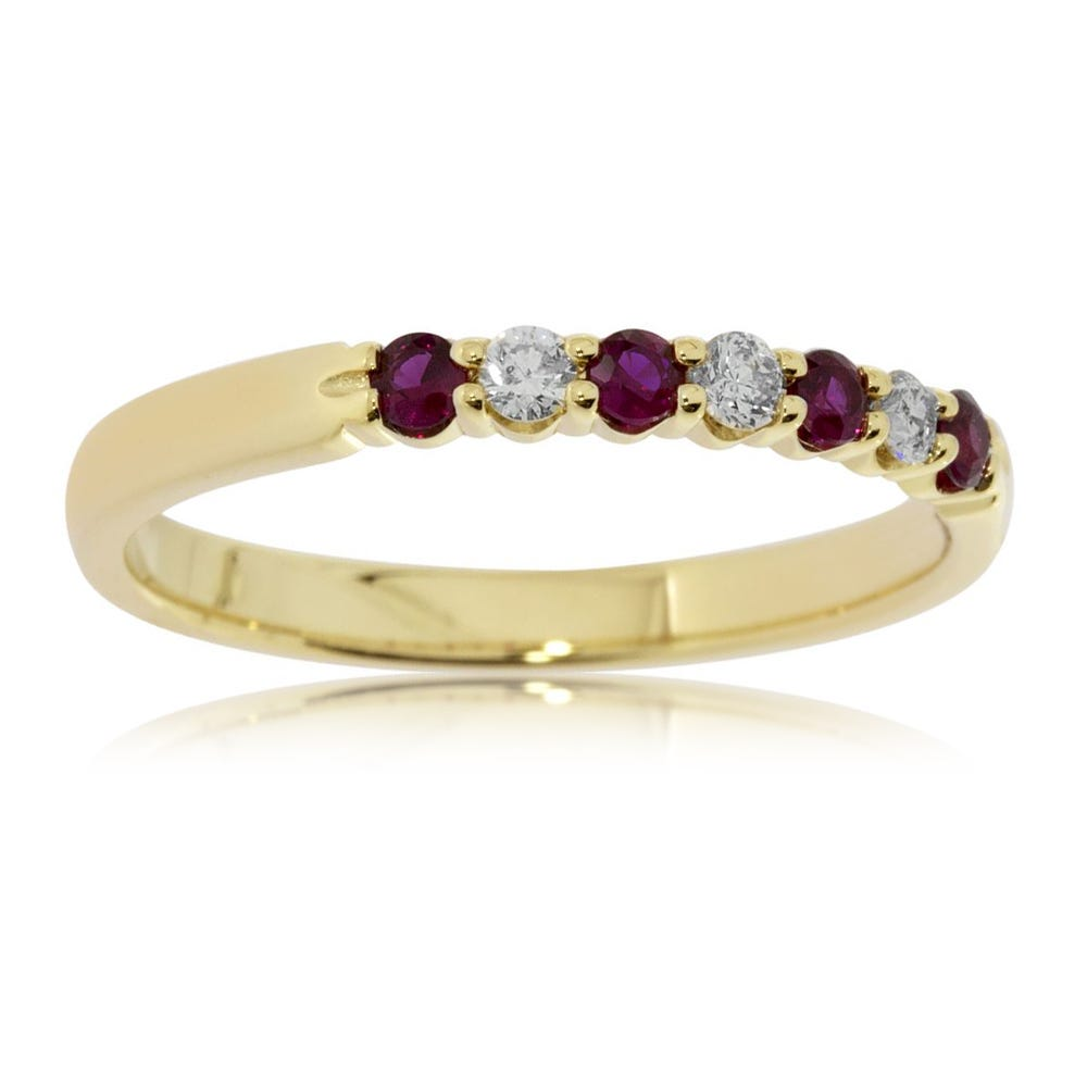 Diamond & Ruby Prong Set 0.15ctw. Band in 14k Yellow Gold