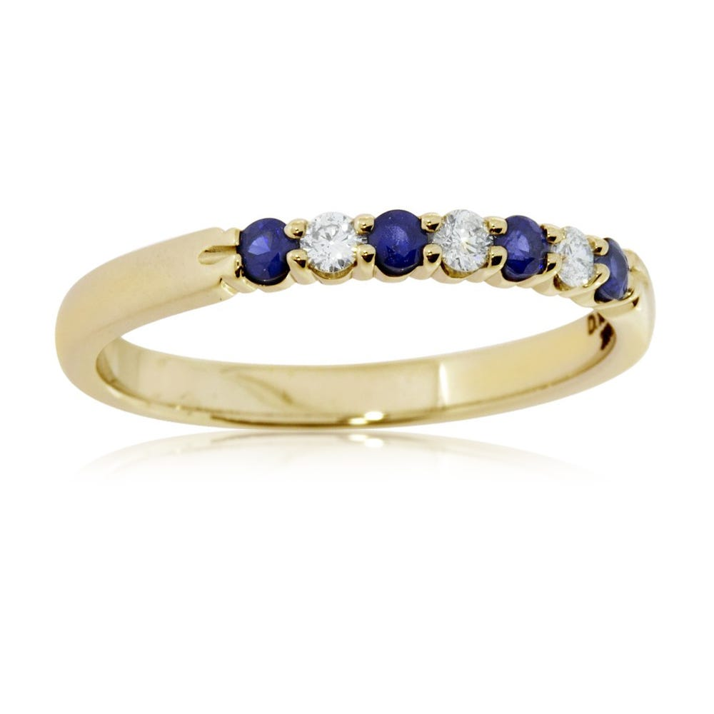 Diamond & Sapphire Prong Set 0.15ctw. Band in 14k Yellow Gold