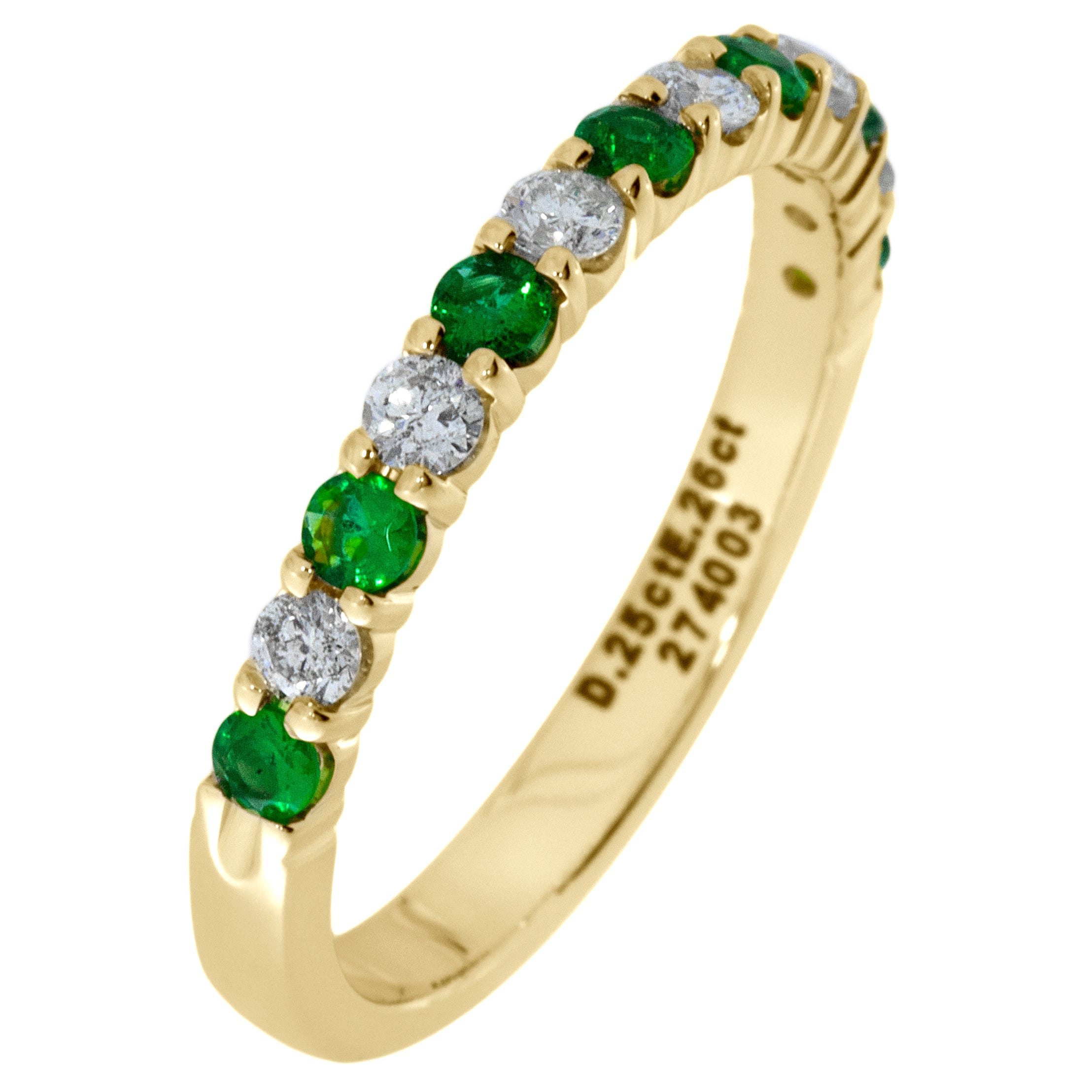 Diamond & Emerald Prong Set 1/4ctw. Band in 14k Yellow Gold