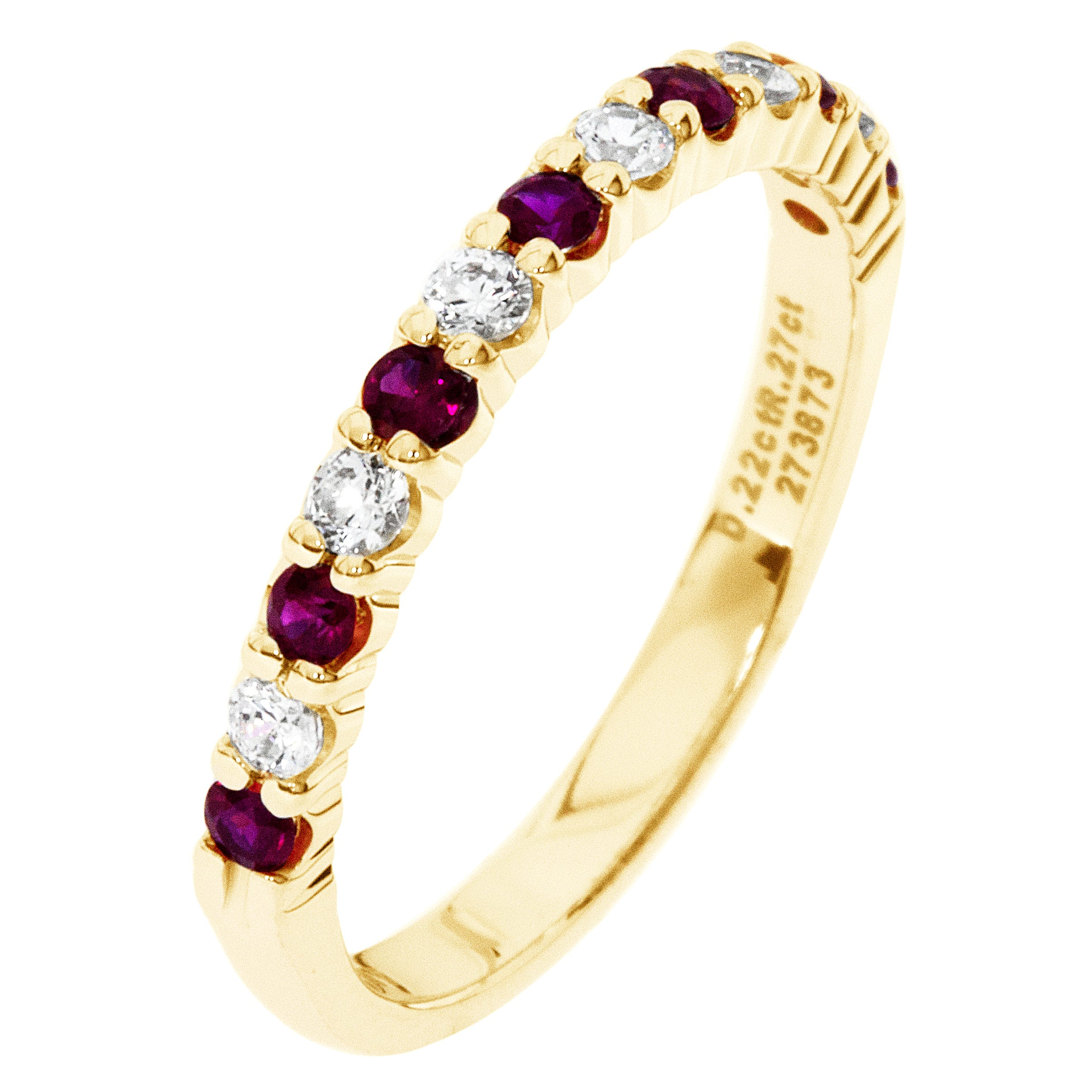 Diamond & Ruby Prong Set 1/4ctw. Band in 14k Yellow Gold