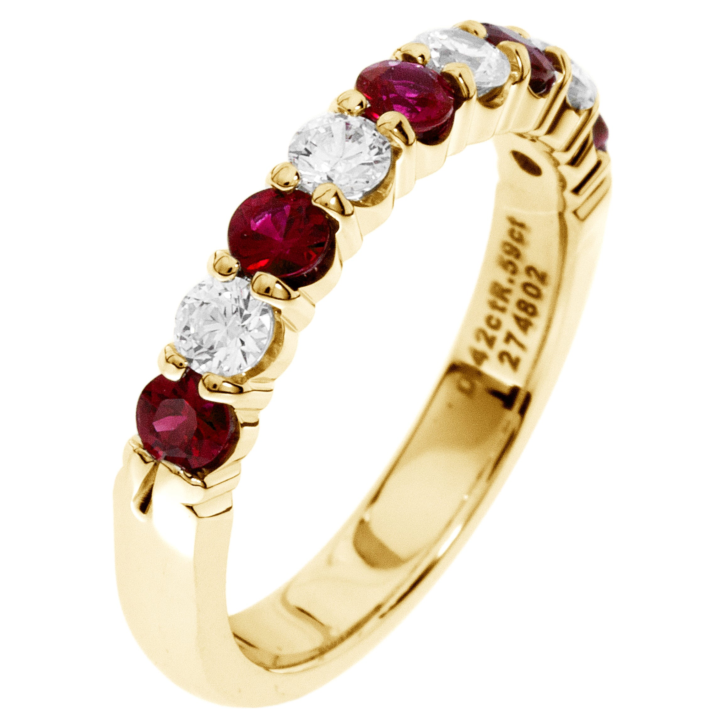 Diamond & Ruby Prong Set 0.55ctw. Band in 14k Yellow Gold
