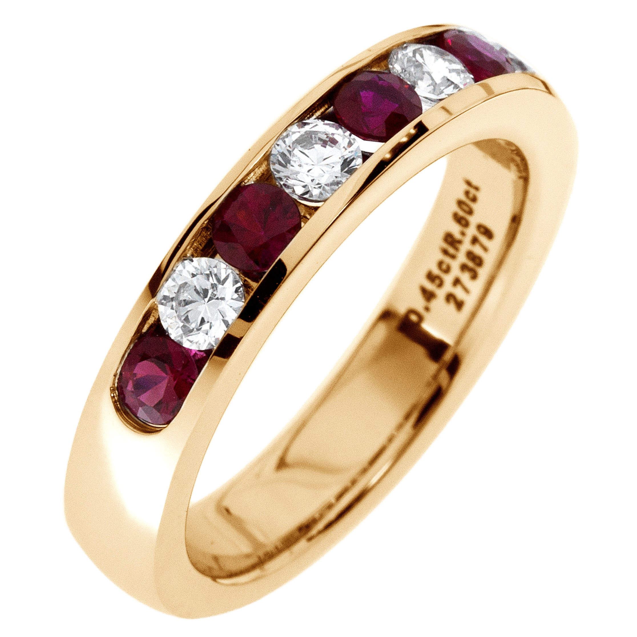 Diamond & Ruby Channel Set 0.55ctw. Band in 14k Yellow Gold