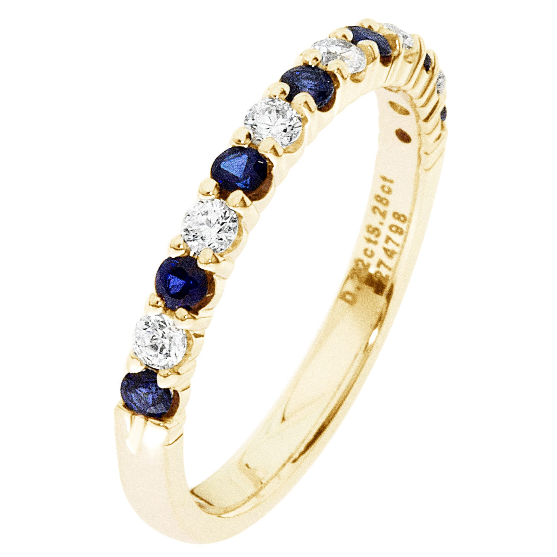 Diamond & Sapphire Prong Set 1/4ctw. Band in 14k Yellow Gold