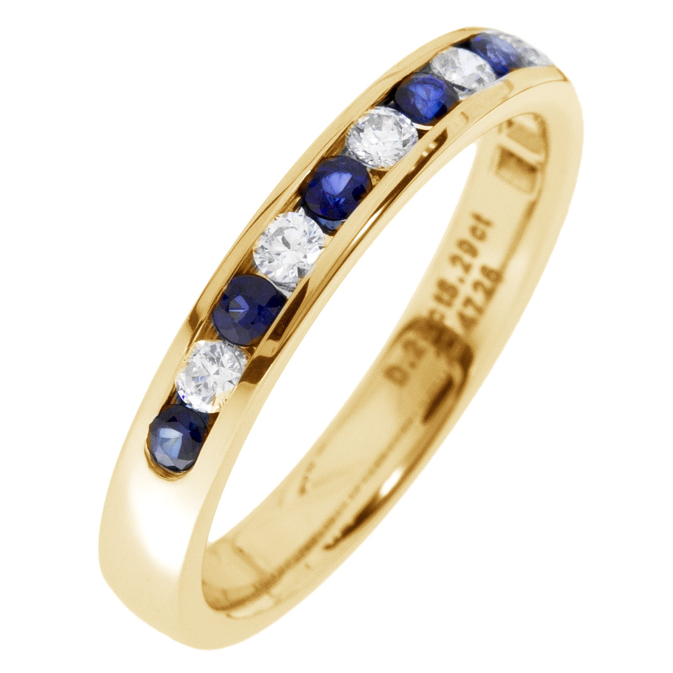 Diamond & Sapphire Channel Set 0.30ctw. Band in 14k Yellow Gold