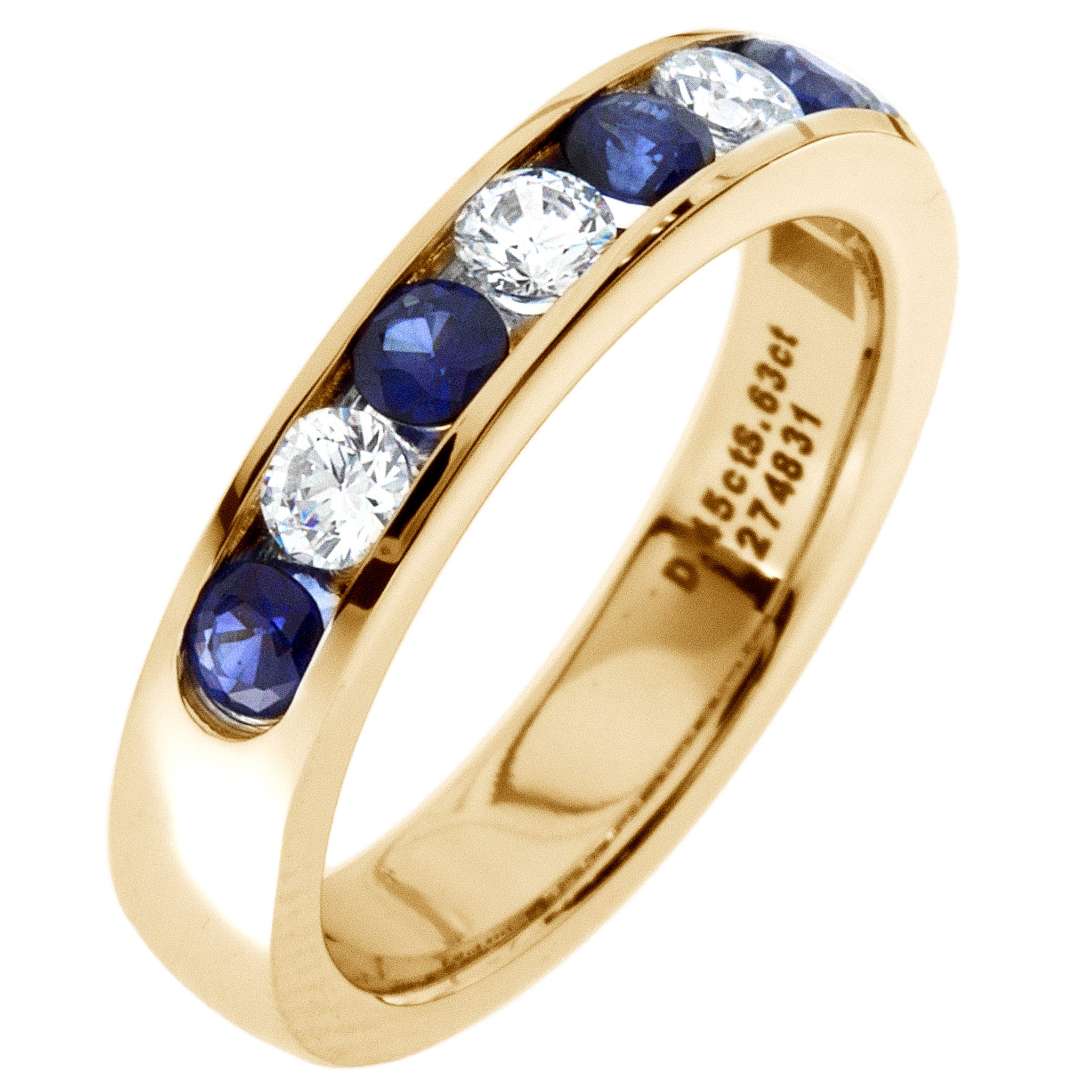 Diamond & Sapphire Channel Set 0.60ctw. Band in 14k Yellow Gold