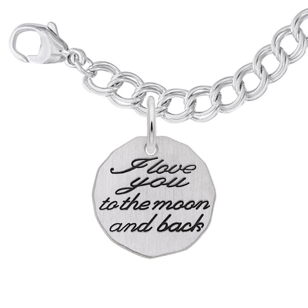 I Love You To The Moon & Back Charm Bracelet Set in Sterling Silver
