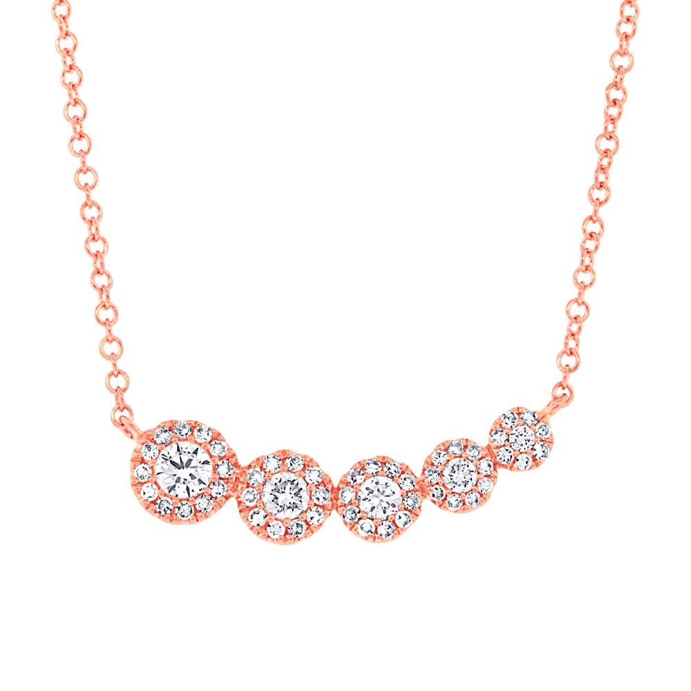 Shy Creation Diamond Halo Cluster Journey Necklace in 14k Rose Gold