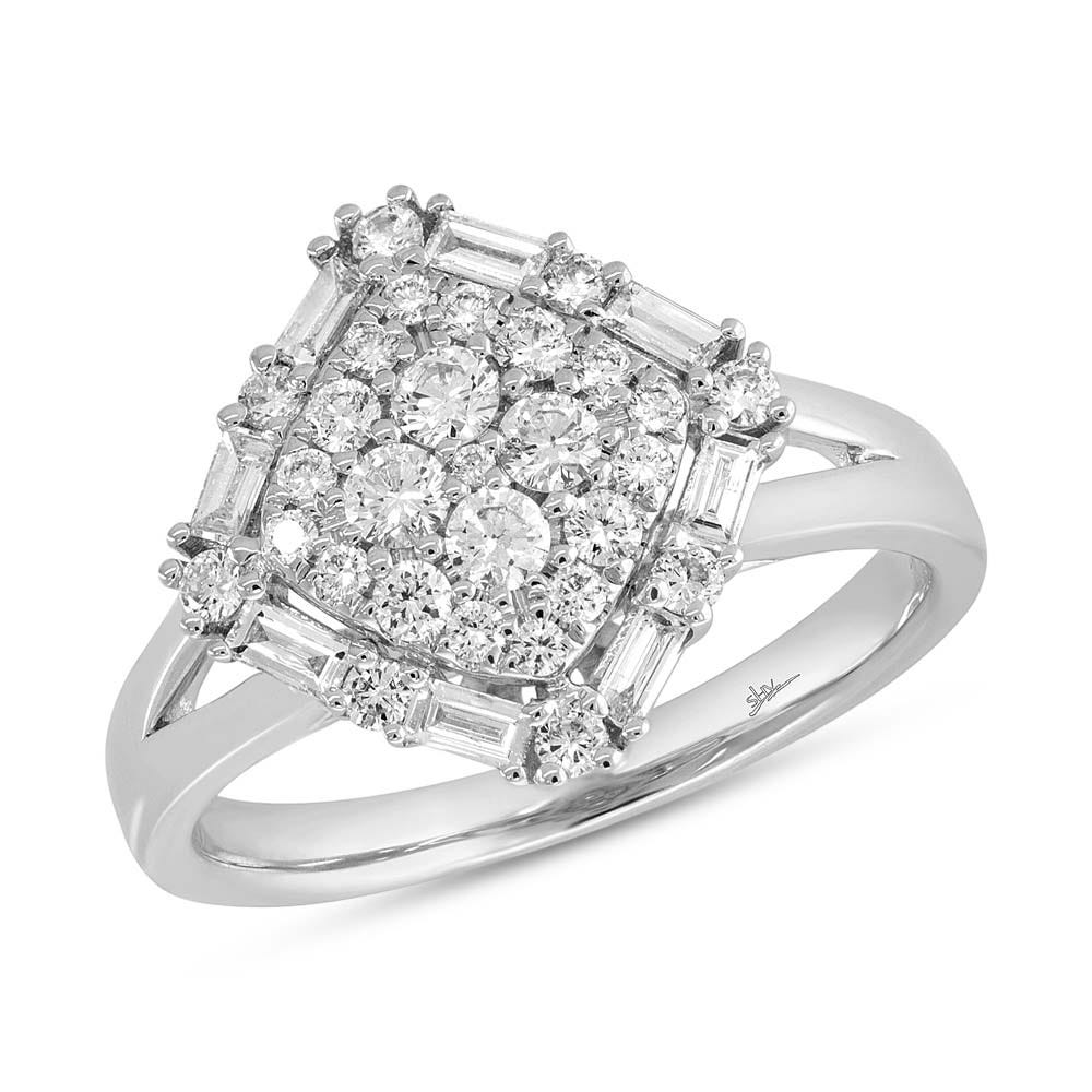 Shy Creation Round & Baguette Diamond Fashion Ring in 14k White Gold