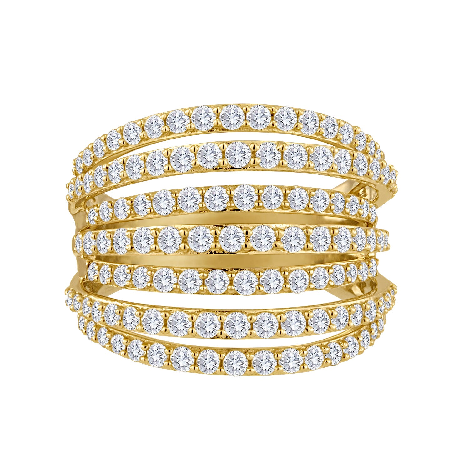 Five-Row 2ctw. Pave Diamond Fashion Ring in 14k Yellow Gold