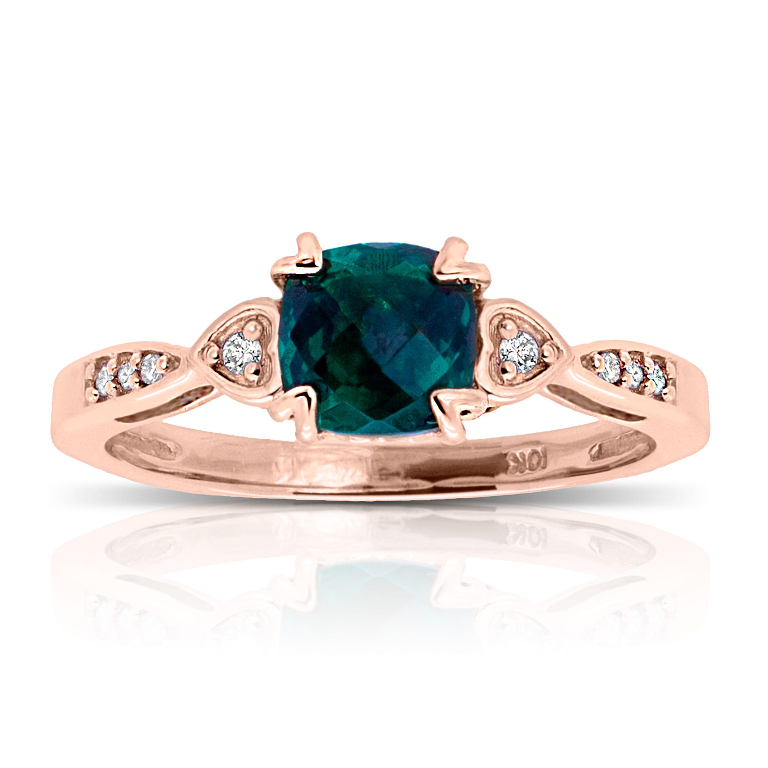 Cushion Created Emerald & Diamond Ring in 10k Rose Gold