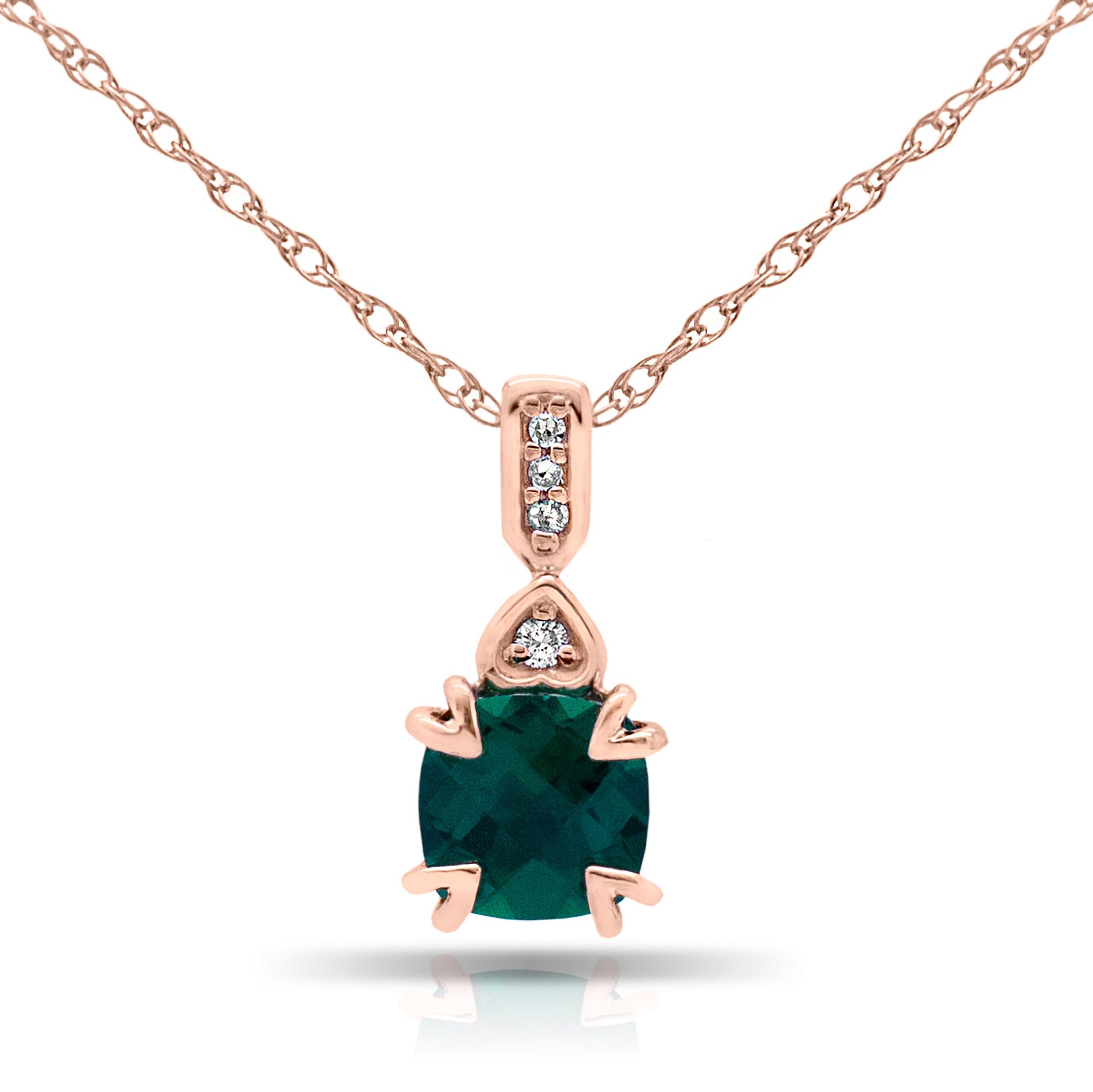 Cushion Created Emerald & Diamond Pendant in 10k Rose Gold