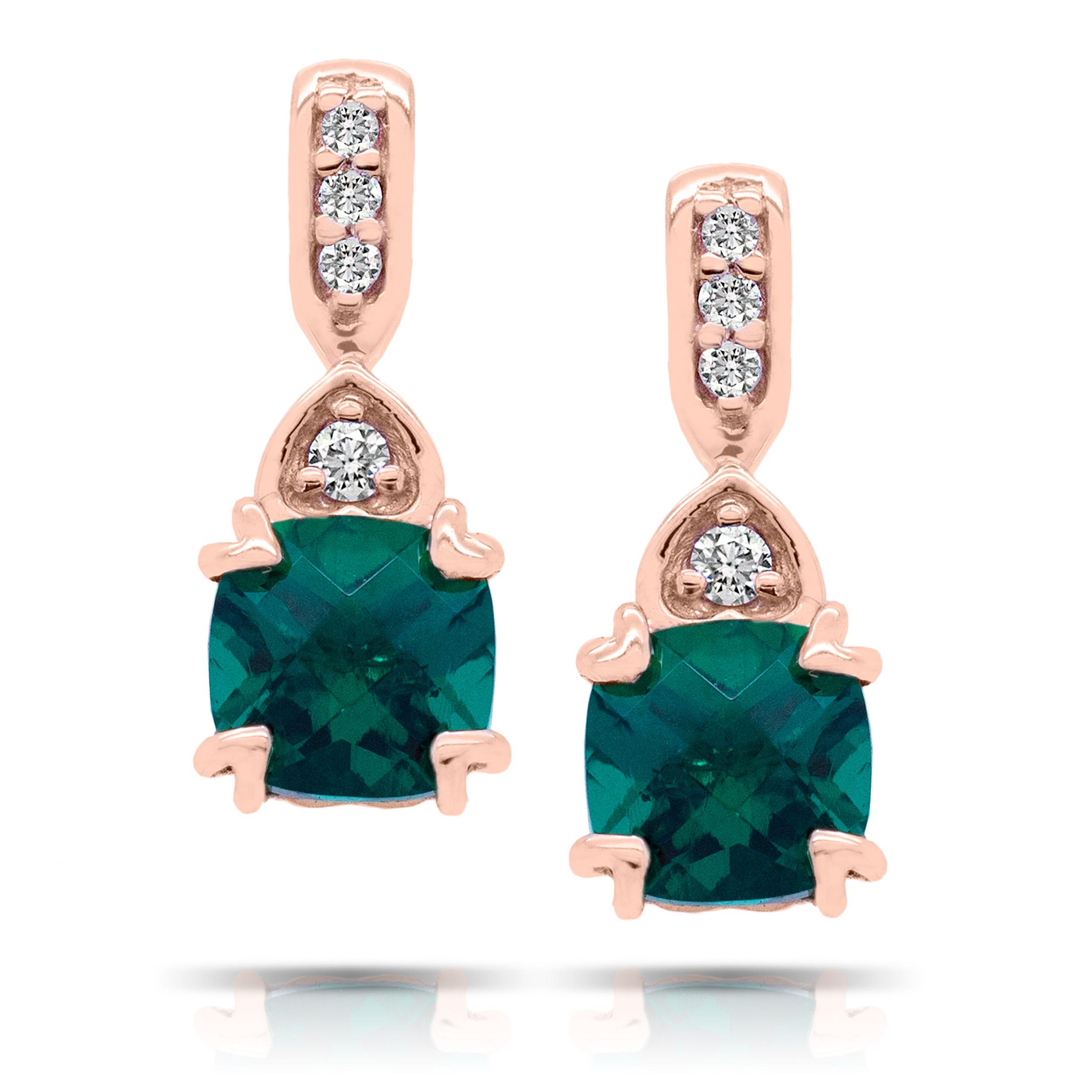 Cushion Created Emerald & Diamond Drop Earrings in 10k Rose Gold