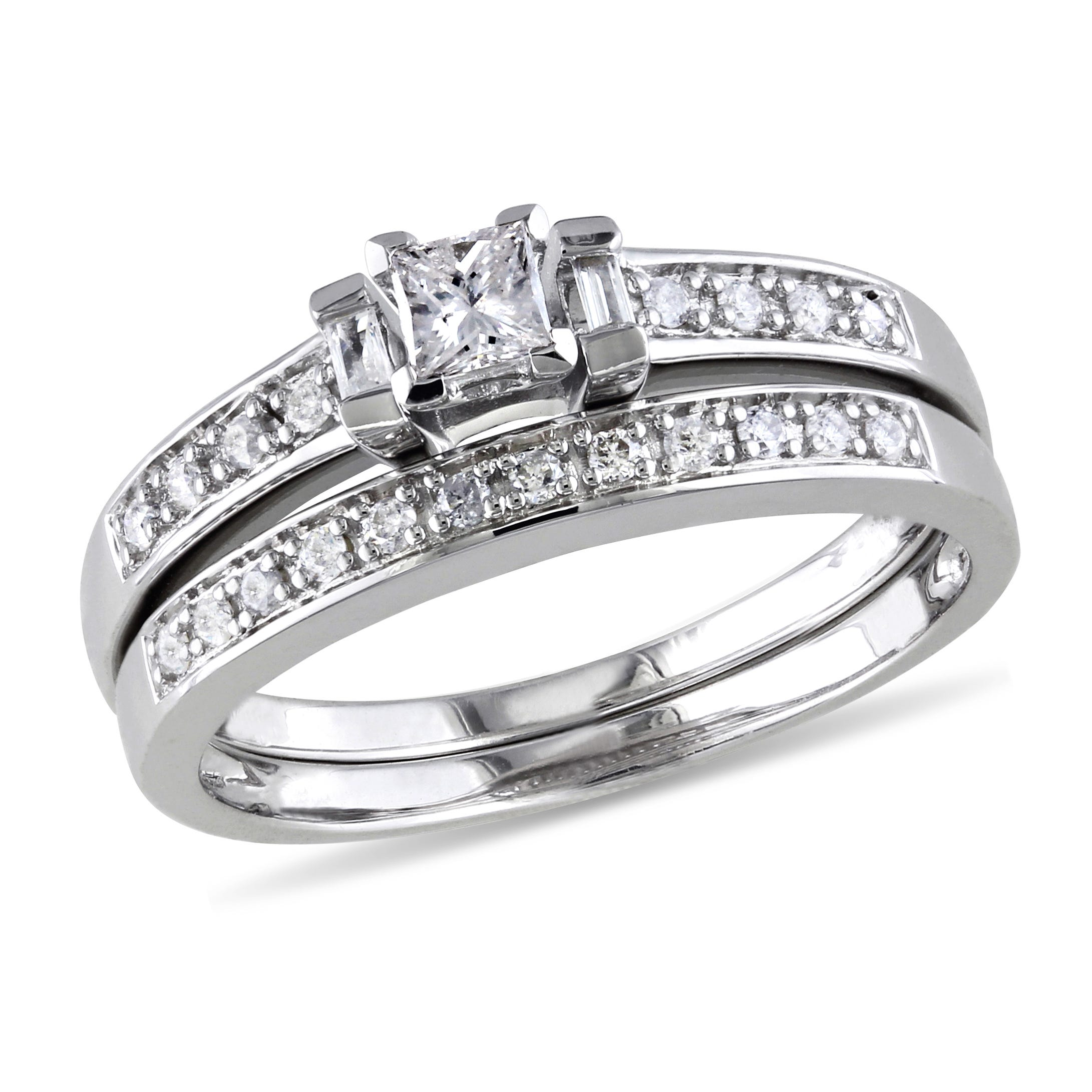 Princess, Baguette & Round Diamond 1/3ctw. Ring + Band 2 Piece Ring Set in Sterling Silver