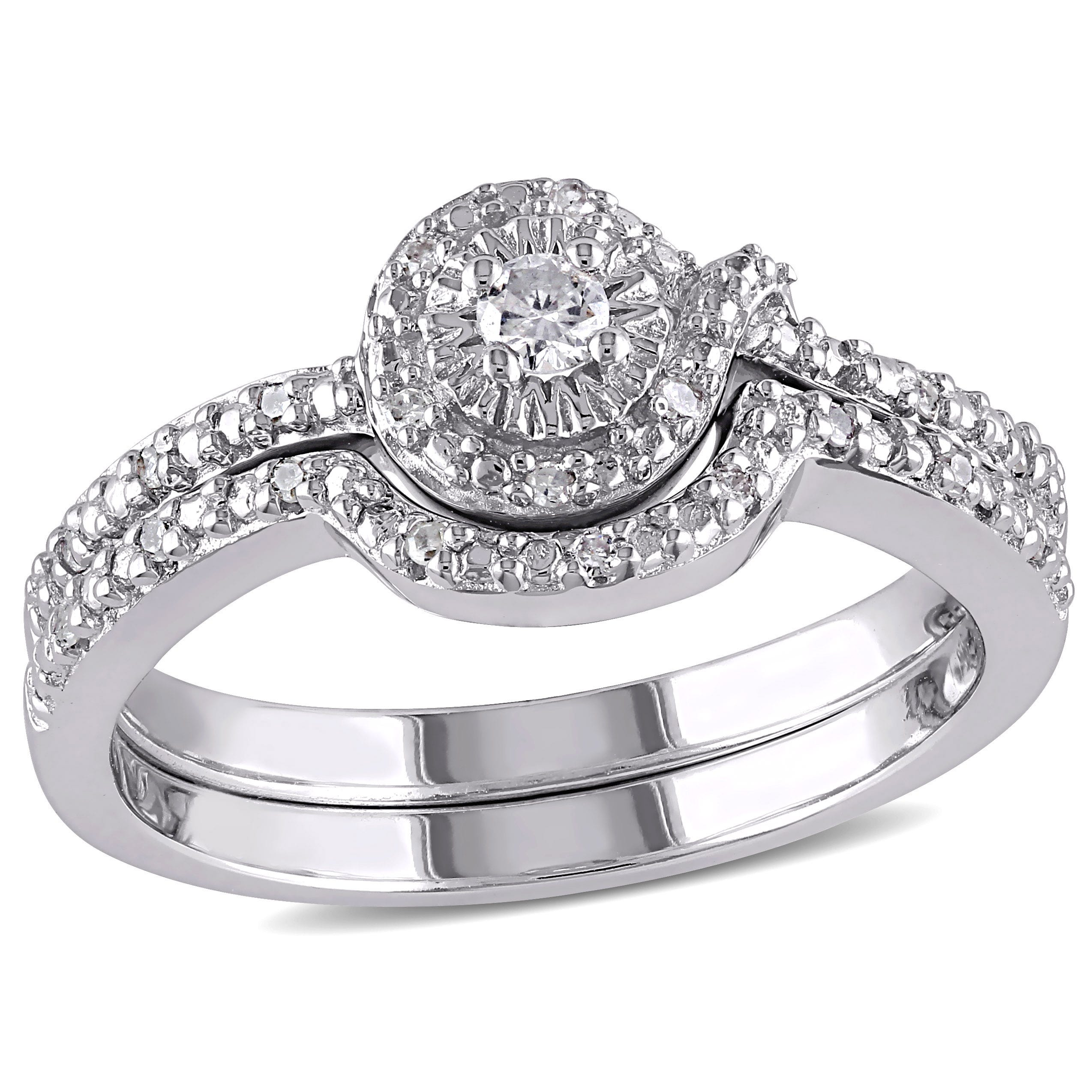Diamond Halo 1/7ctw. Ring + Band 2-Piece Ring Set in Sterling Silver