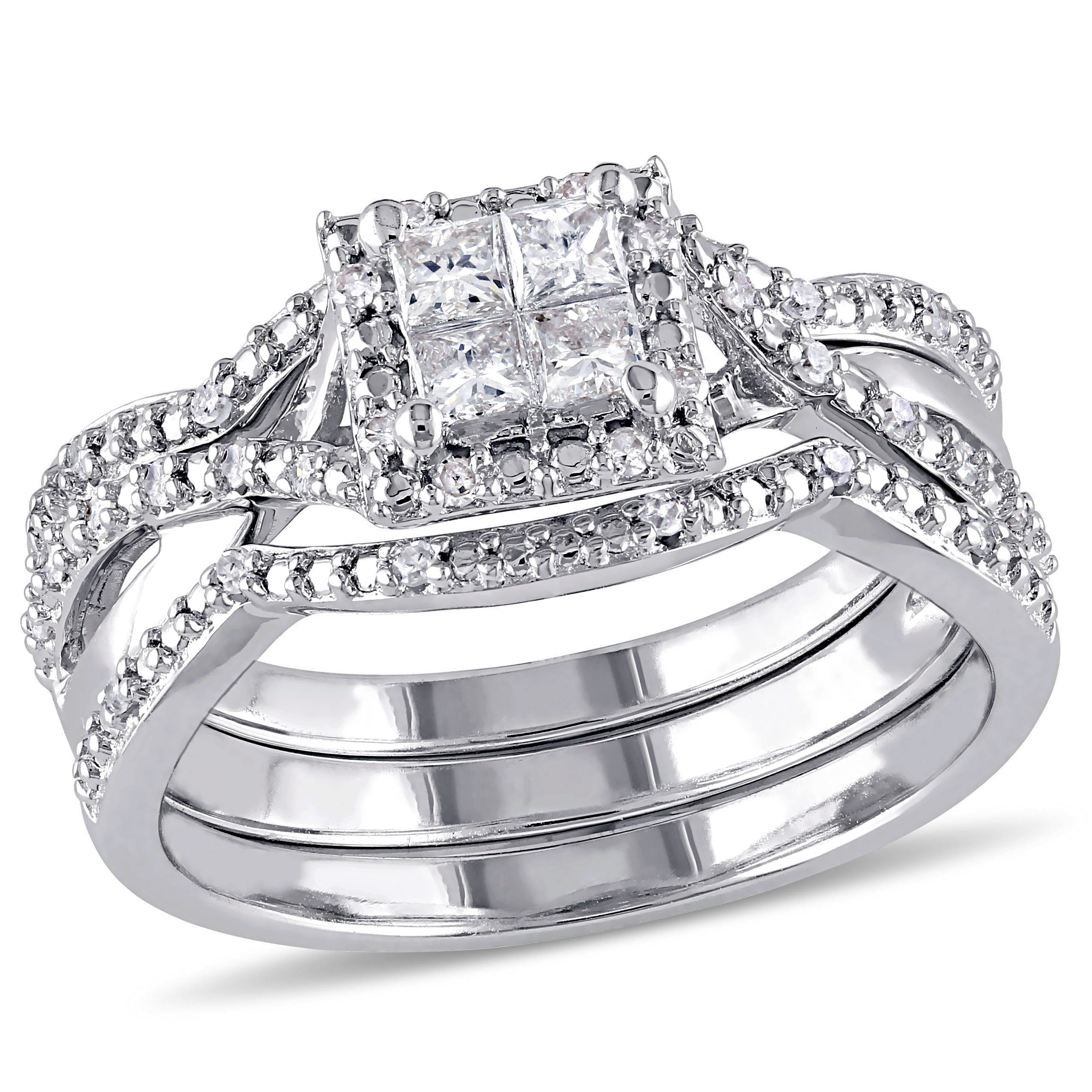 Diamond Princess Quad Halo 1 2ctw Ring Band 2 Piece Ring Set In Sterling Silver