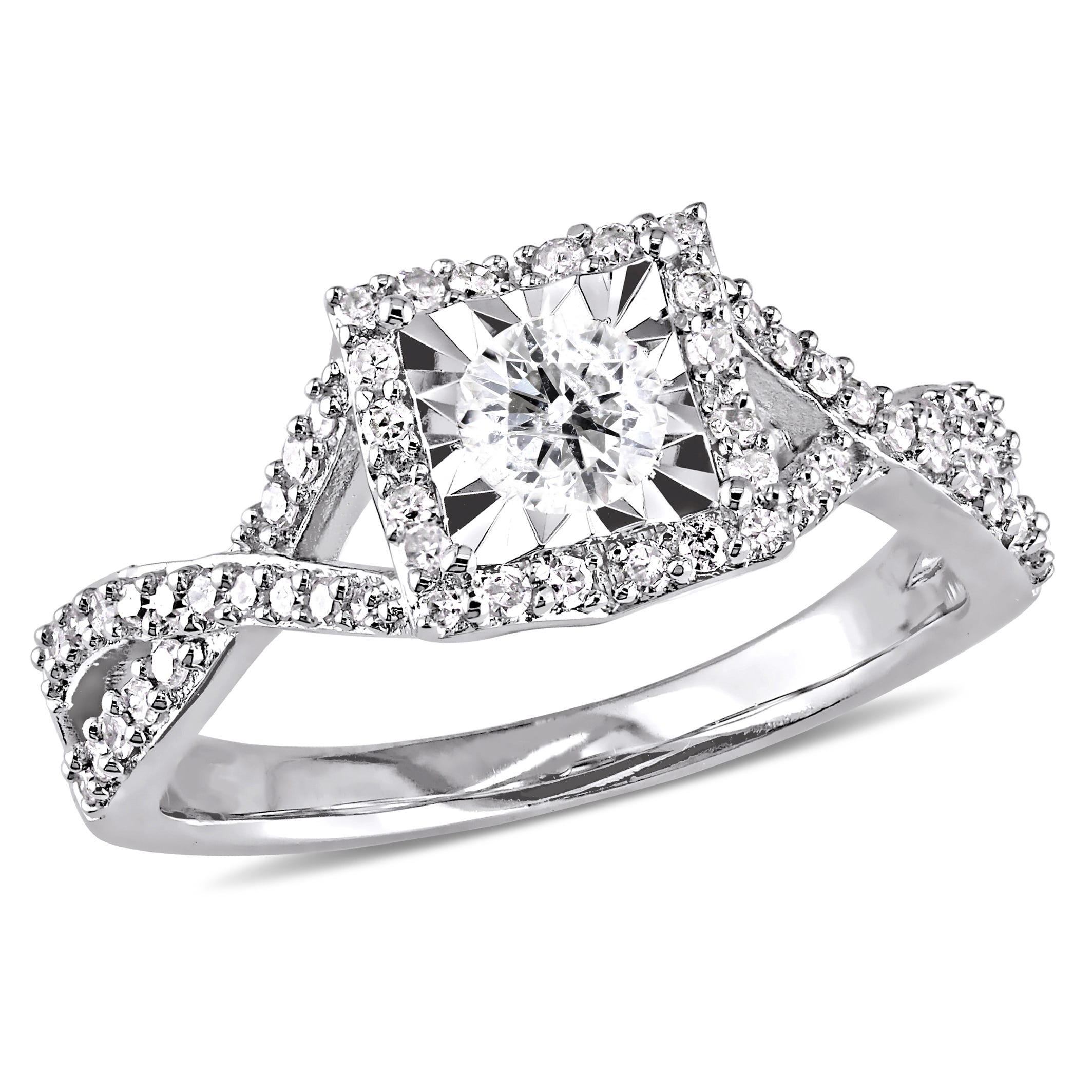 Diamond Halo Crossover 1/2ctw. Engagement Ring in Sterling Silver