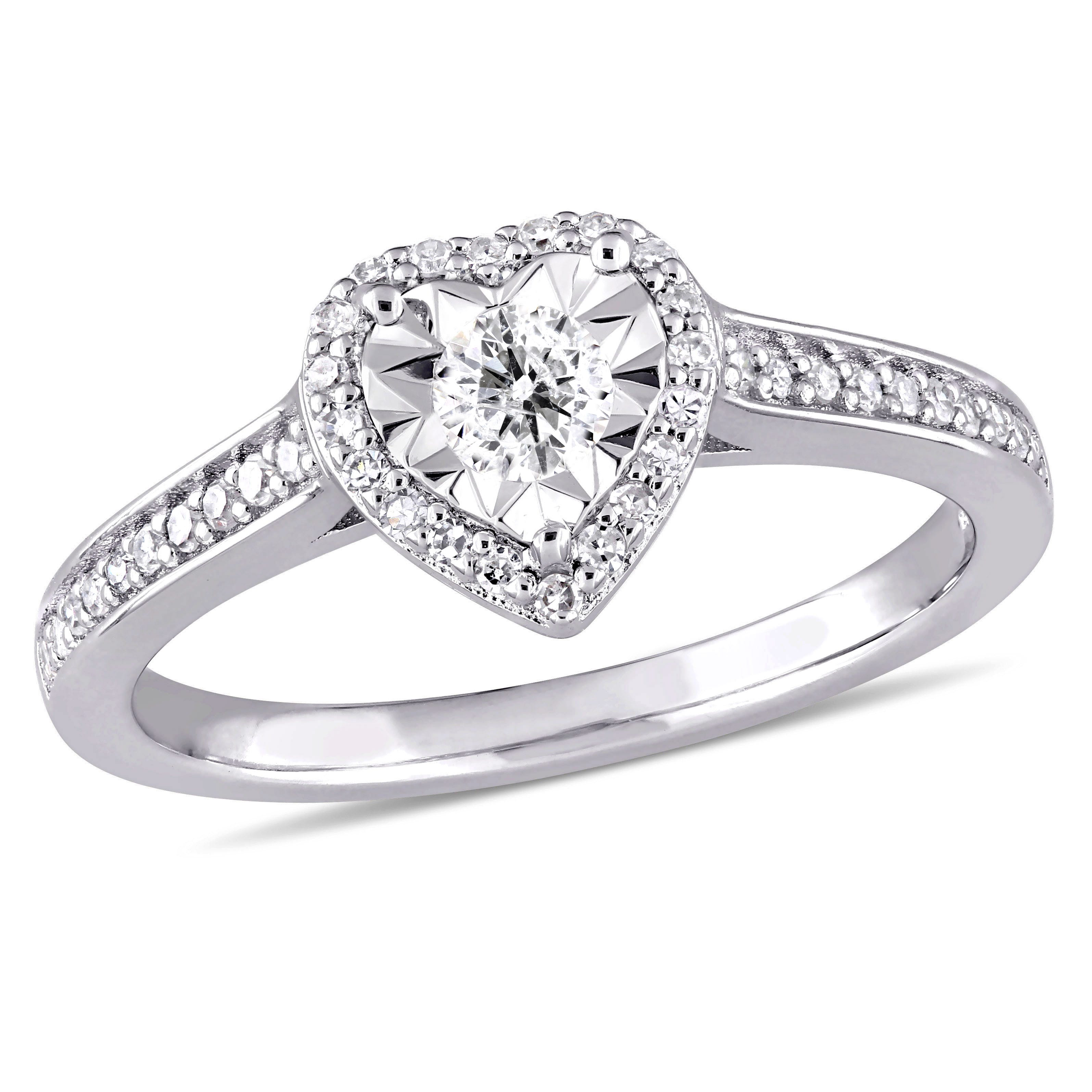 Diamond Heart 1/3ctw. Engagement Ring in Sterling Silver