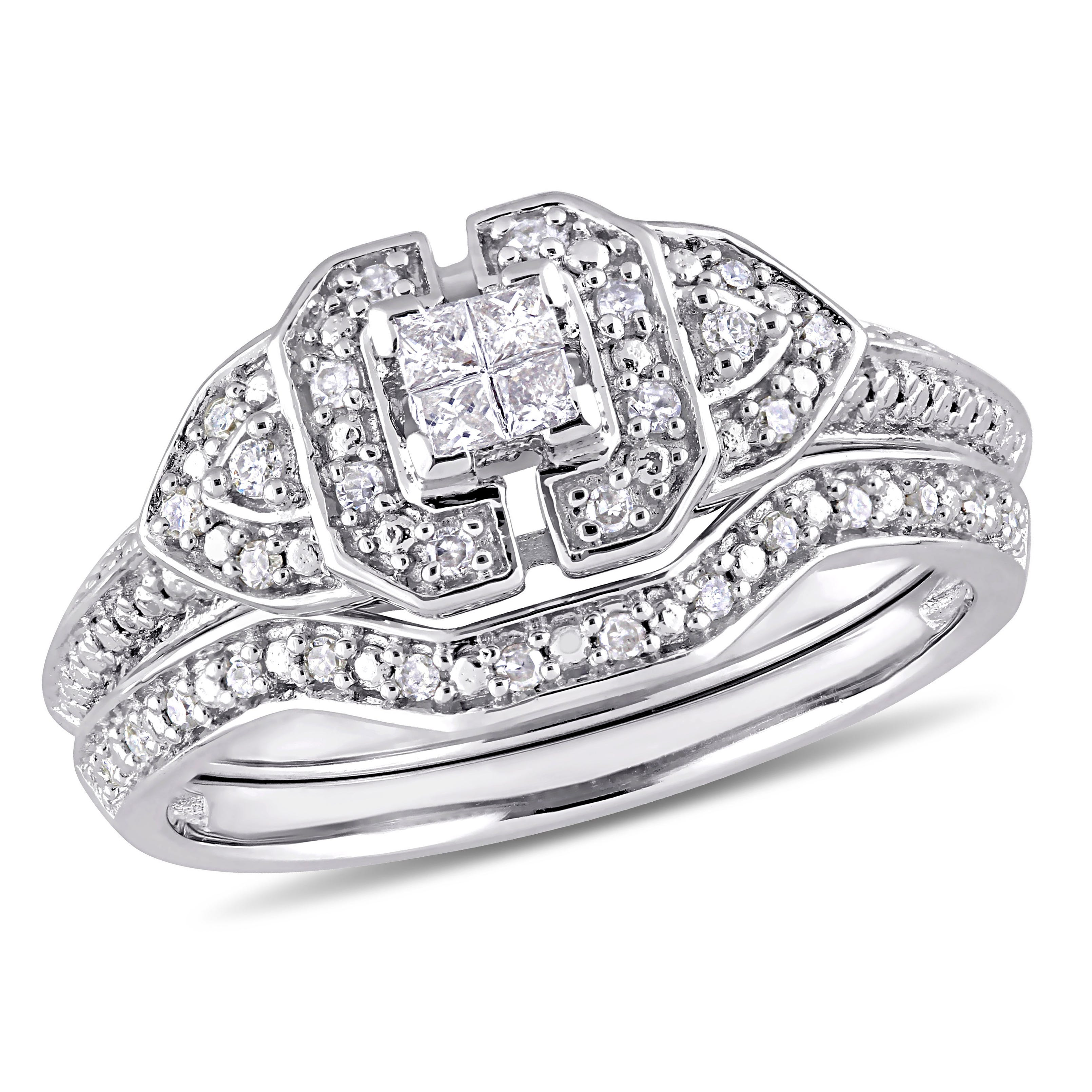 Diamond Princess Quad Vintage-Inspired 1/4ctw. Ring + Band 2-Piece Ring Set in Sterling Silver