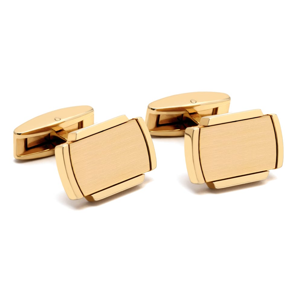 Gold Satin & Polished Edge Cufflinks
