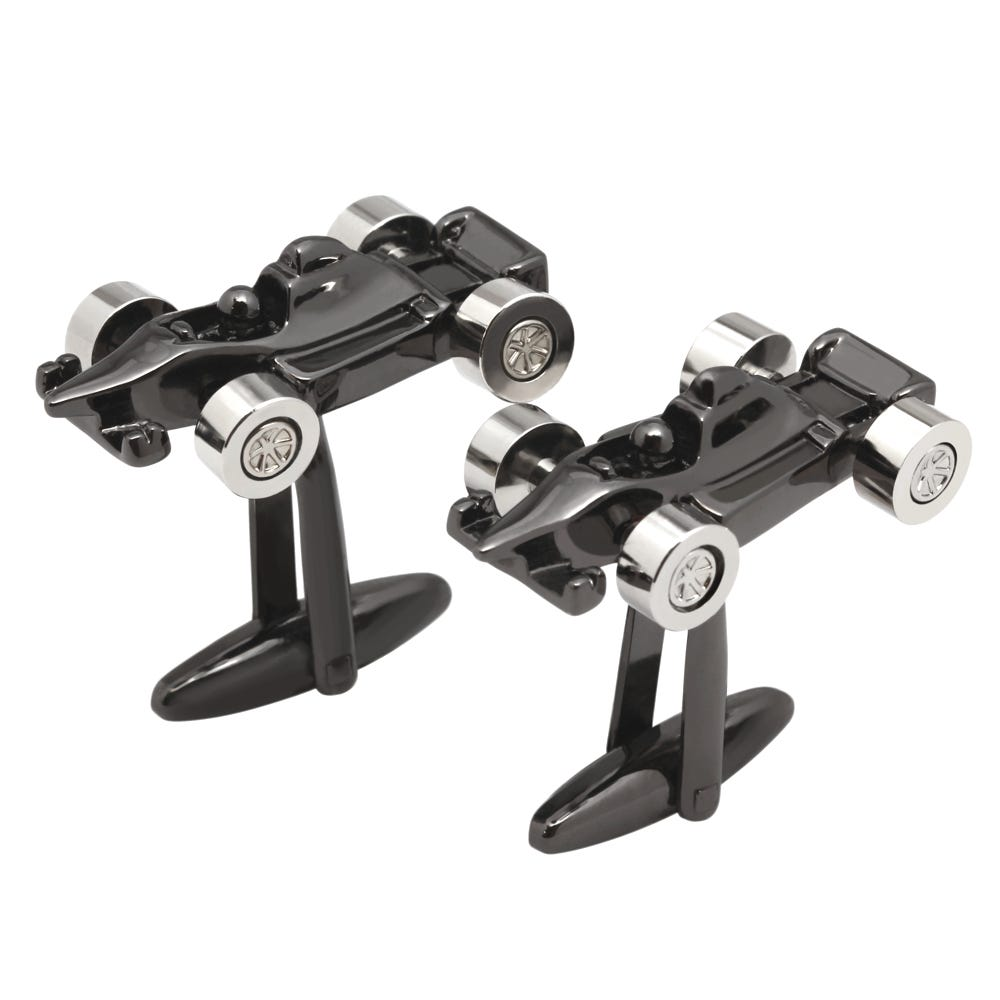 Gunmetal Race Car Silvertone Cufflinks
