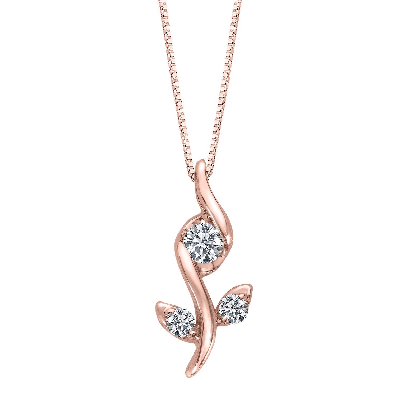 Sirena Diamond Rose Pendant in 10k Rose Gold