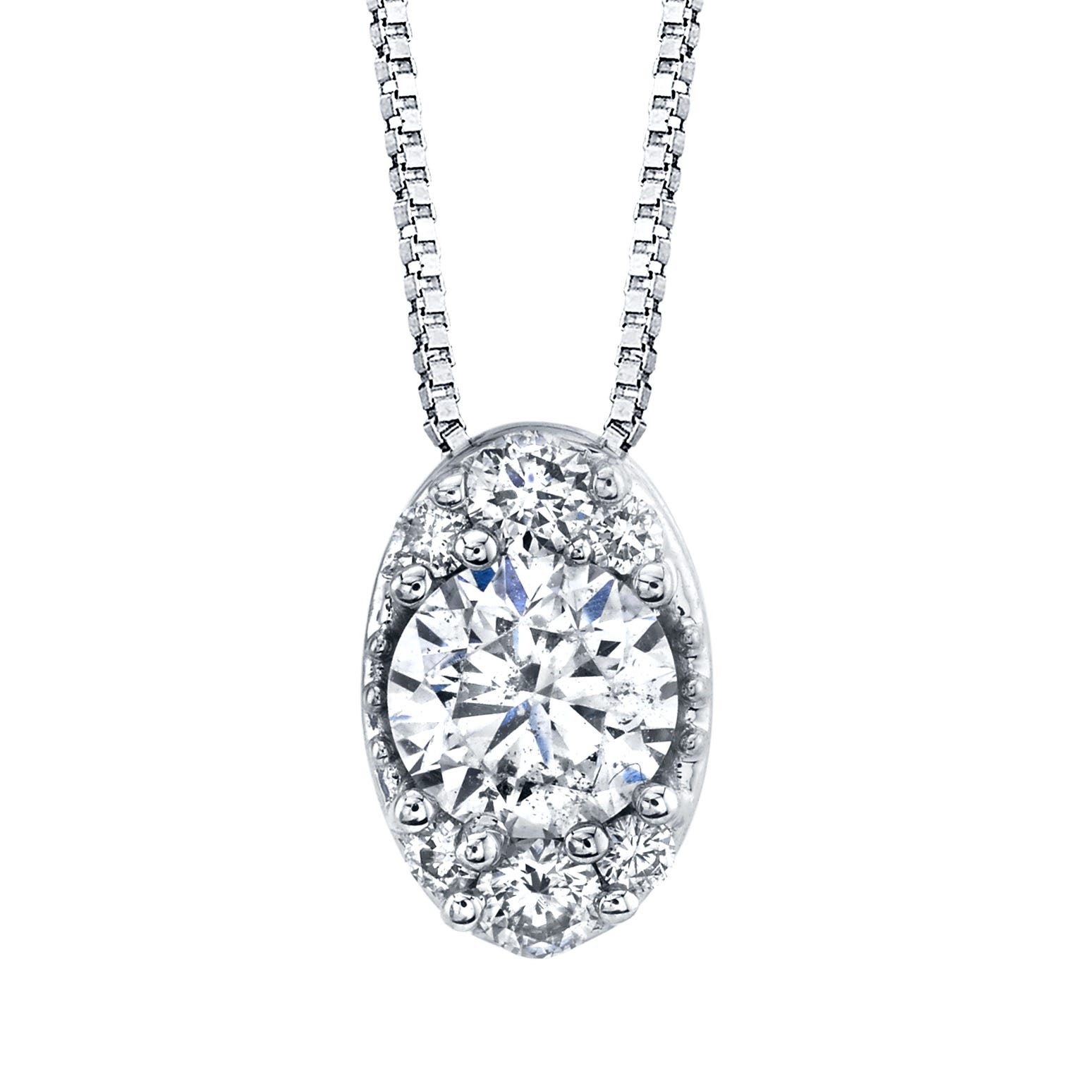 Diamond 1/2ctw Oval Cluster Pendant in 14k White Gold
