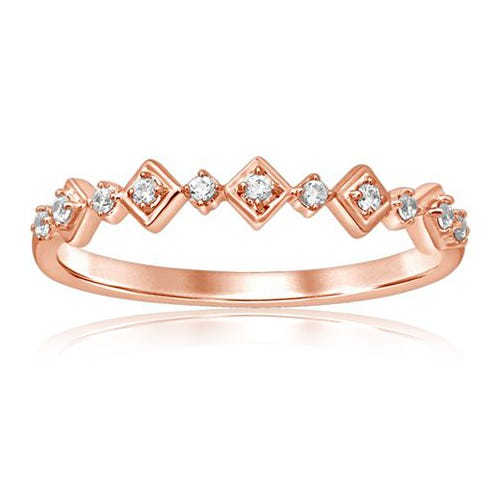 Diamond Stackable Alternating Art Deco Band in 10k Rose Gold