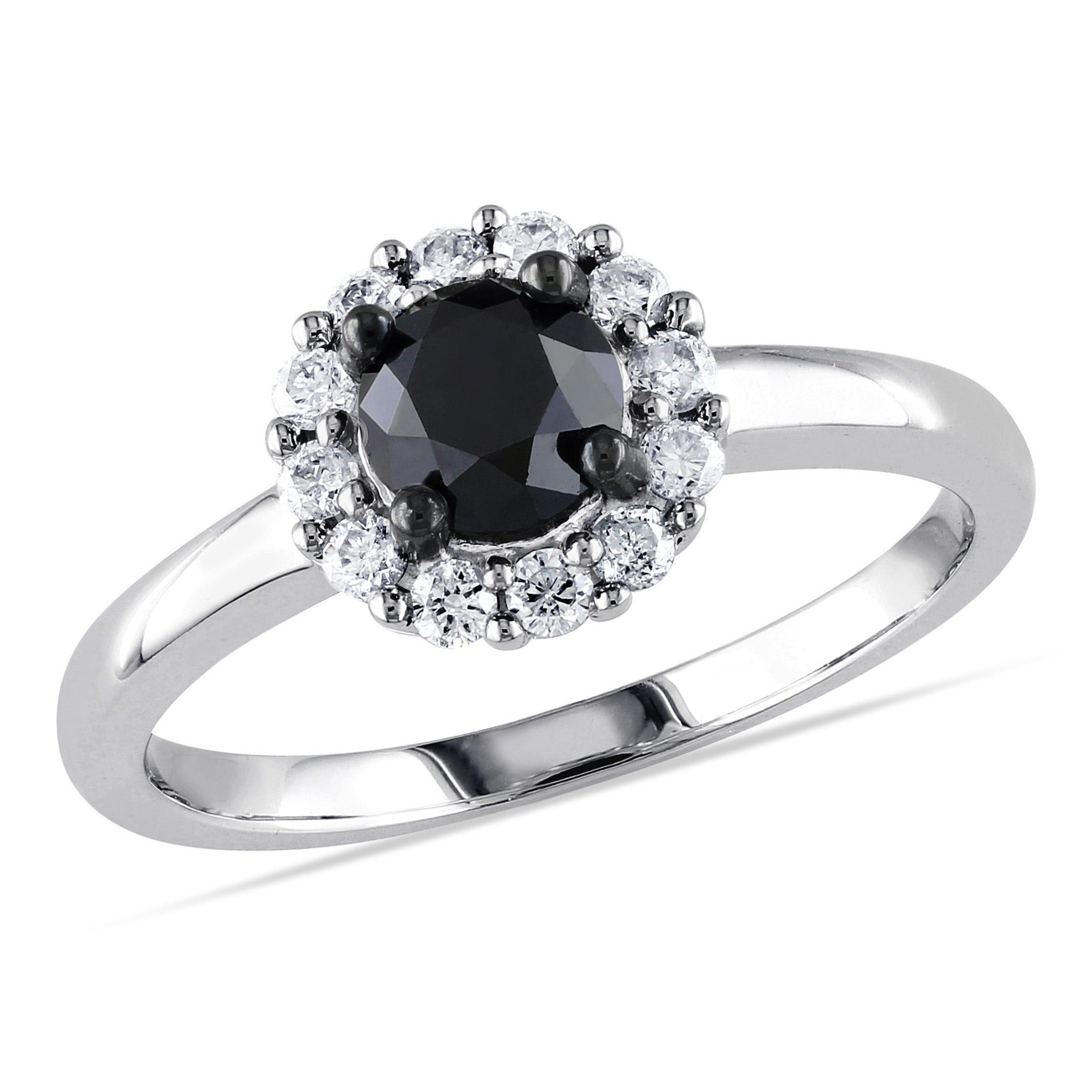 Round Black Diamond & White Diamond Halo 1ctw. Engagement Ring in 10k White Gold