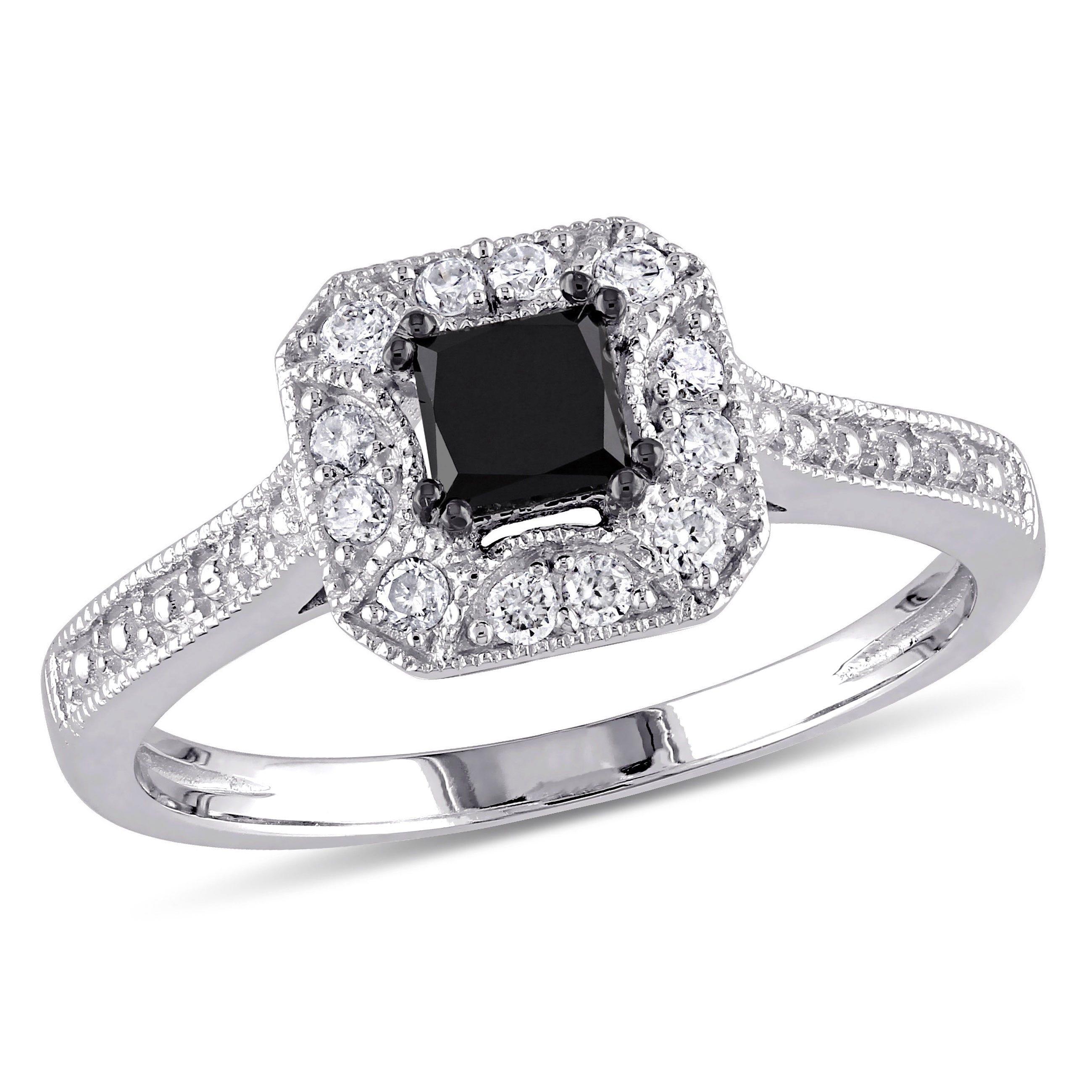 Princess-Cut Black & White Diamond Halo 3/5ctw. Engagement Ring in 10k White Gold